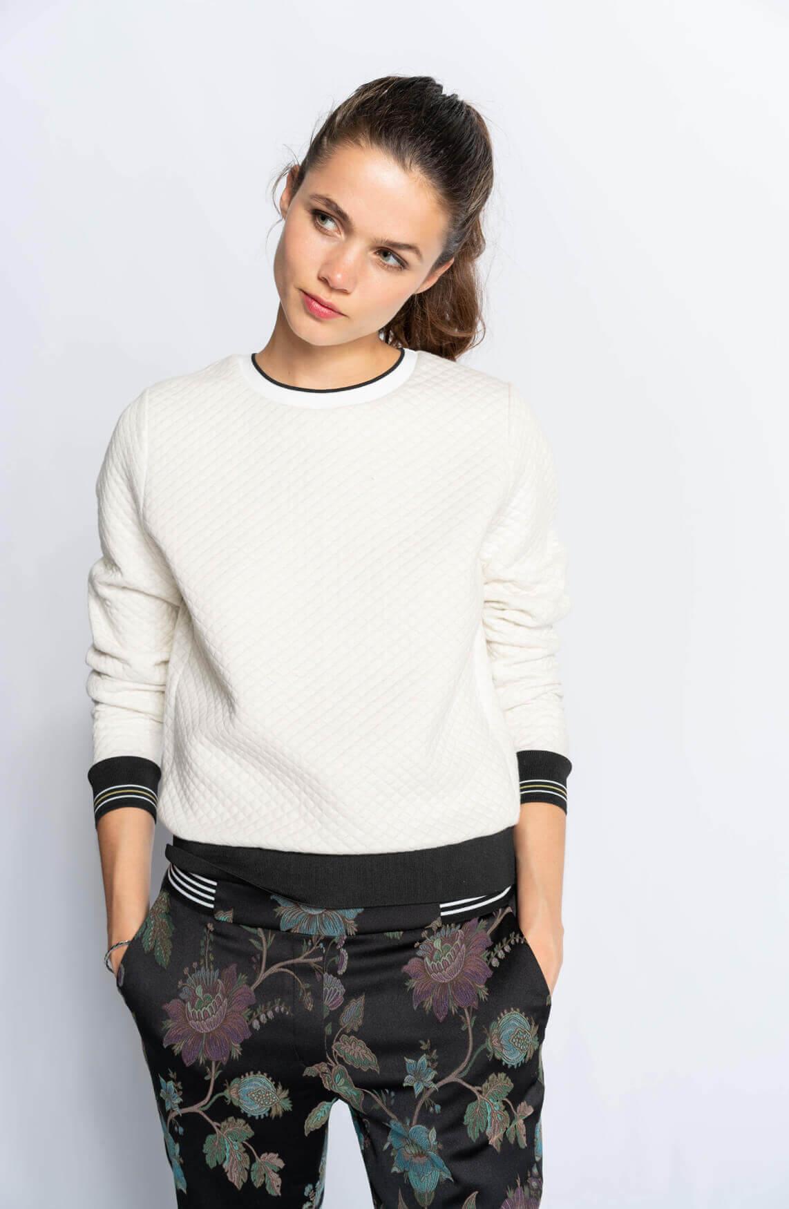 Anna Blue Dames Gestepte sweater Grijs