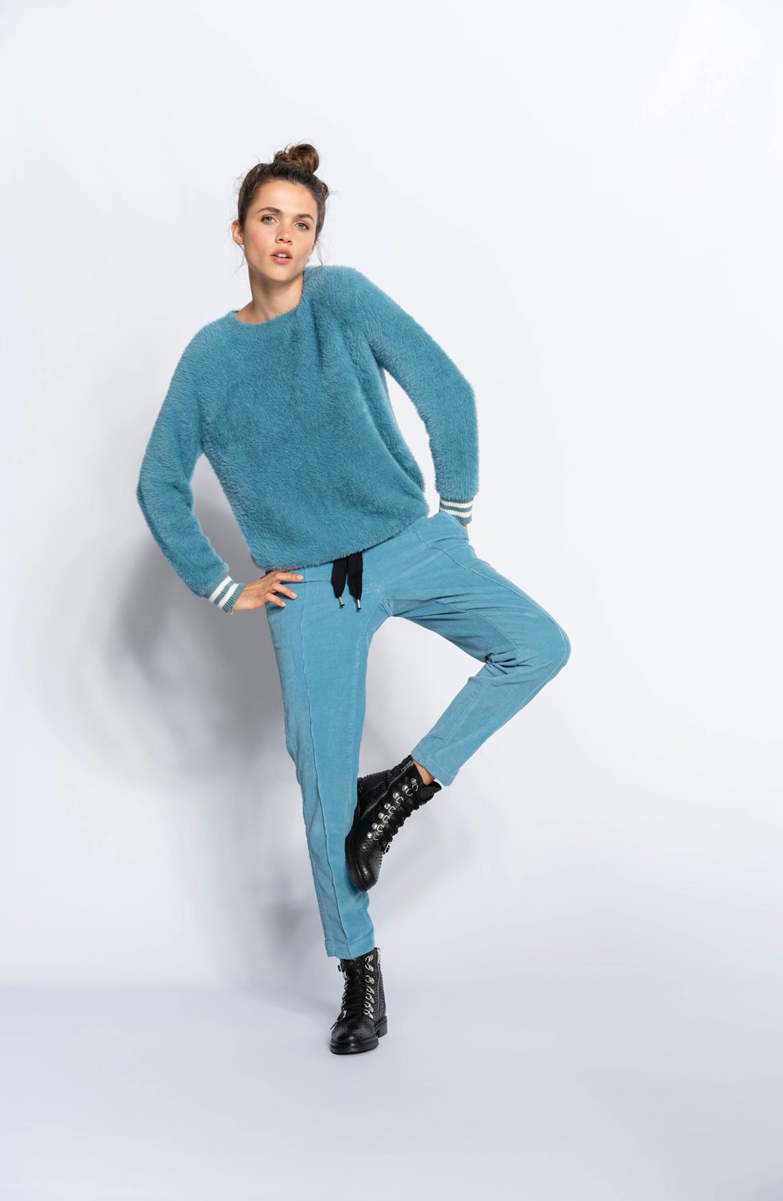 Anna Blue Dames Velvet broek Blauw