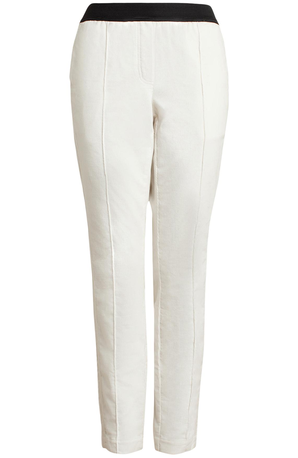 Anna Blue Dames Velvet broek wit