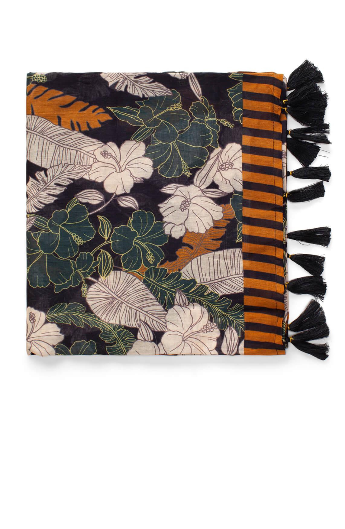 Anna Dames Shawl met bloemenprint Bruin
