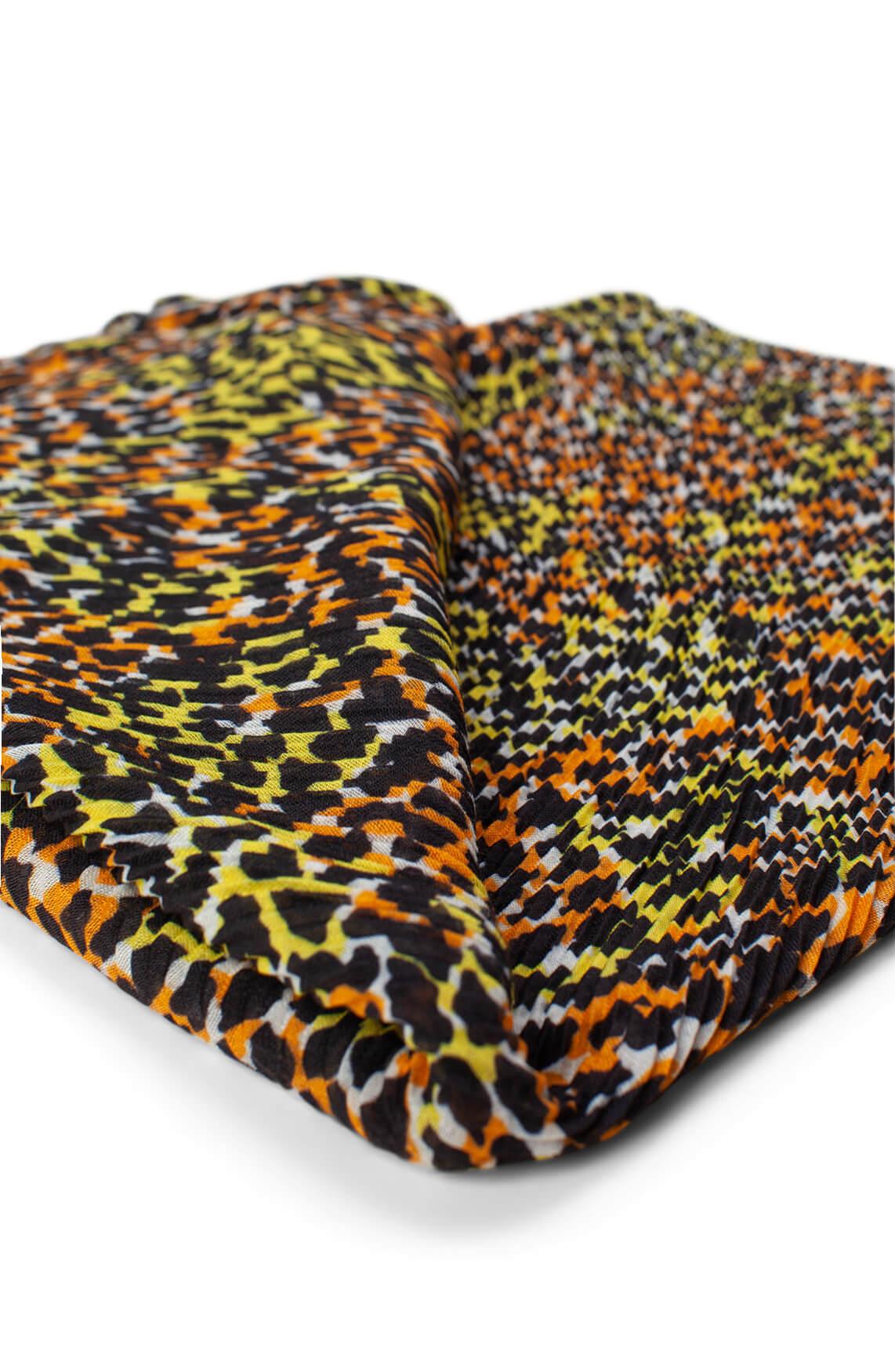 Anna Dames Plissé shawl met panterprint geel