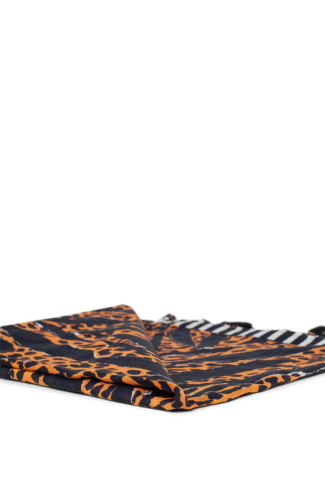 Anna Dames Shawl met animalprint Oranje