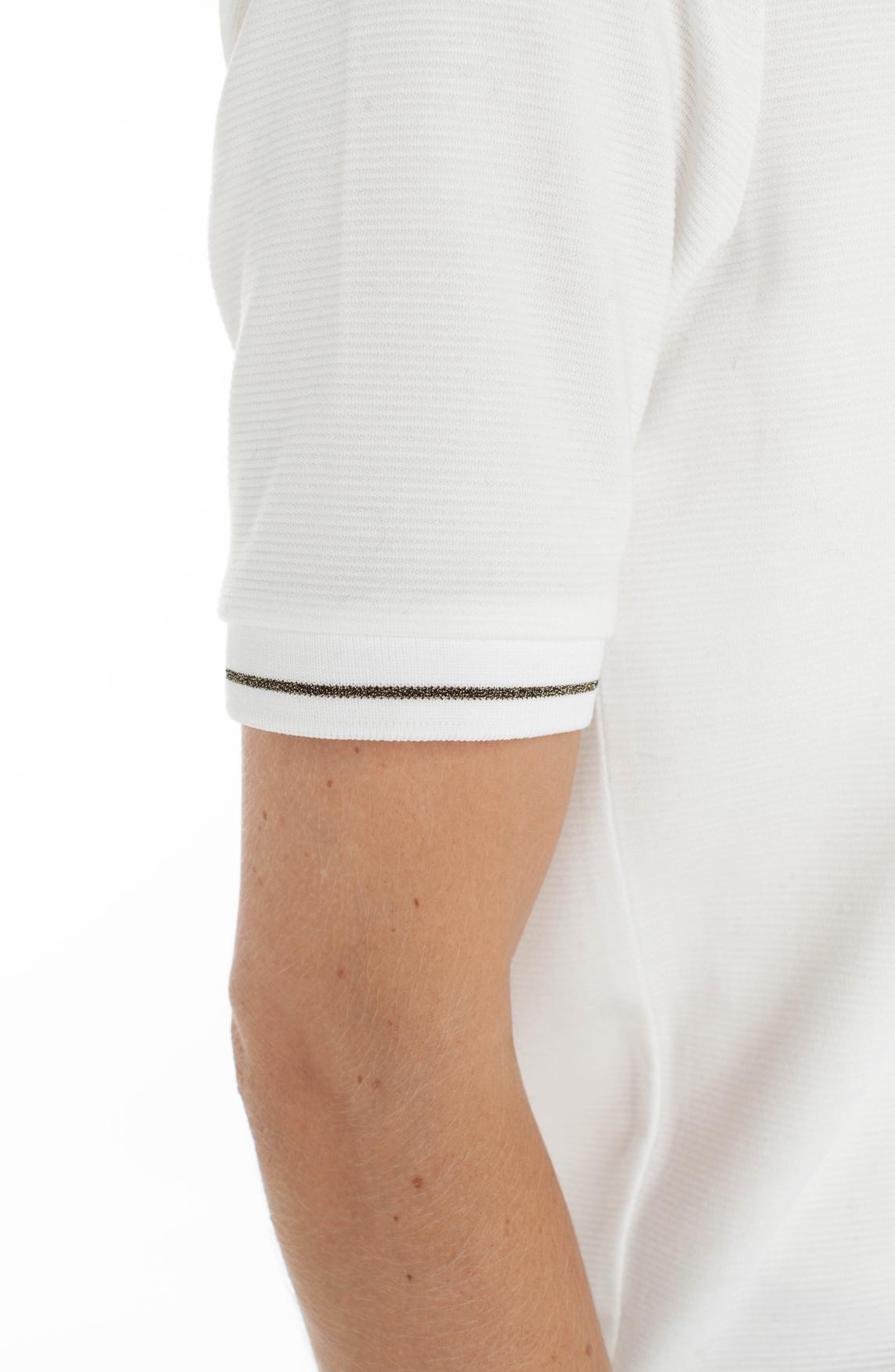 Anna Blue Dames Shirt met ribpatroon wit