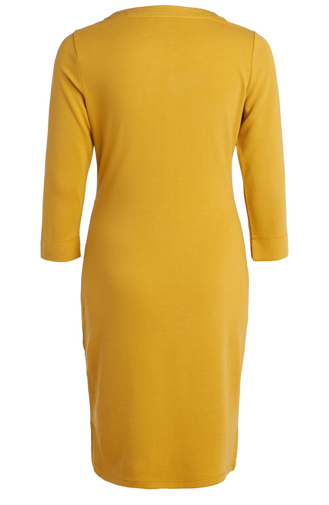 Anna Dames Jurk met ribpatroon geel