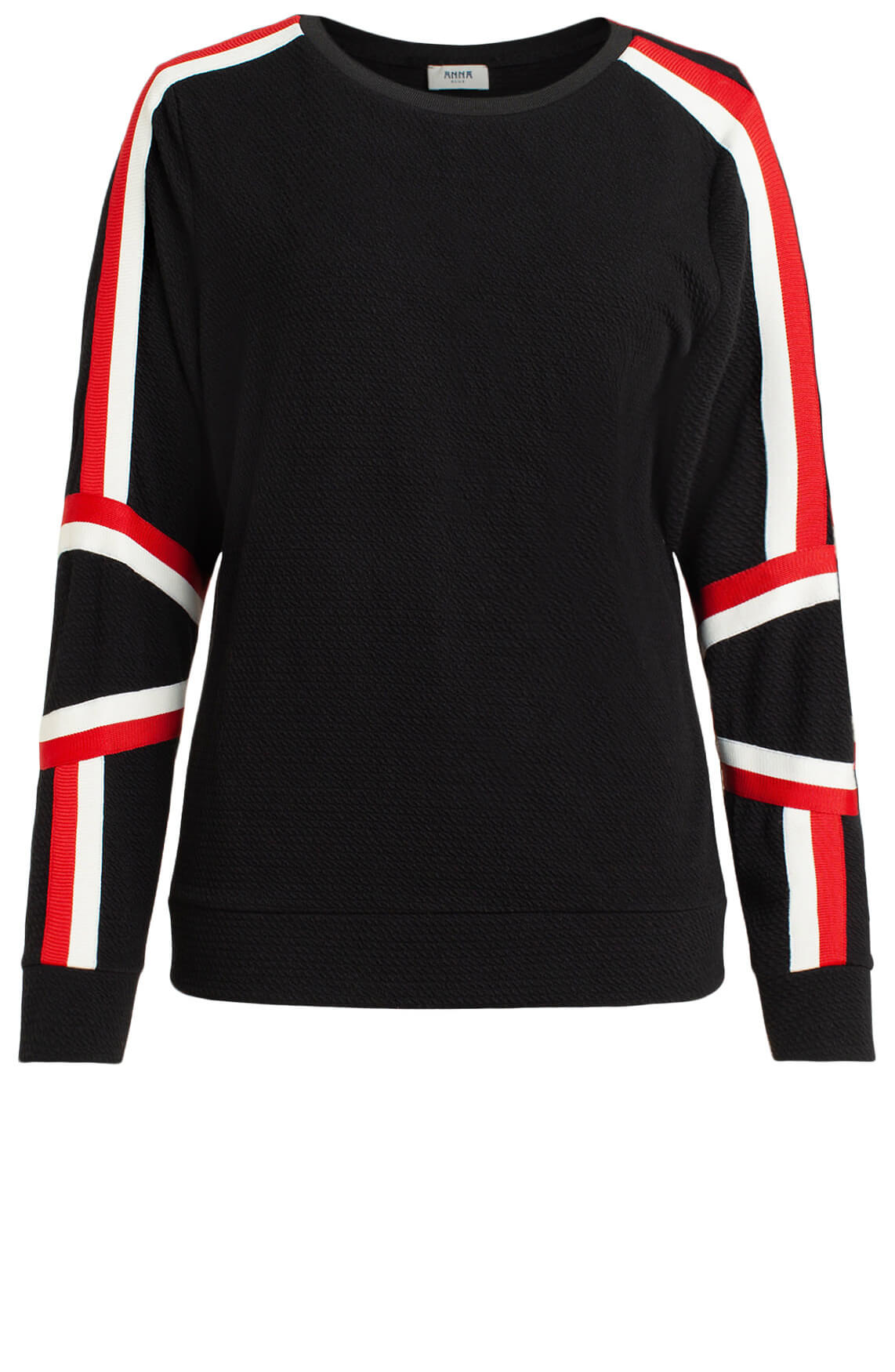 Anna Blue Dames Sweater met contrasterende bies zwart