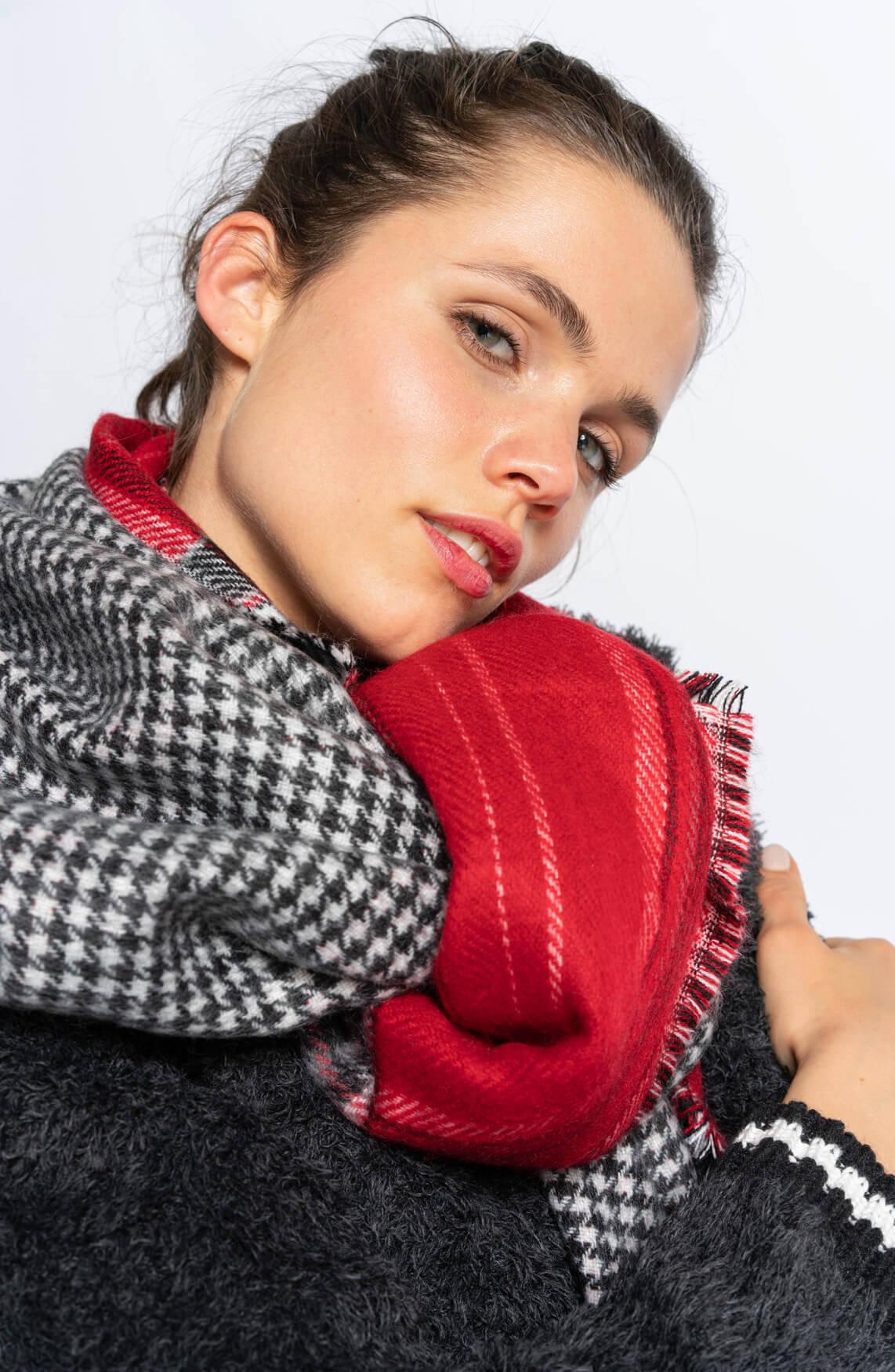 Anna Blue Dames Pied-de-coque shawl Rood