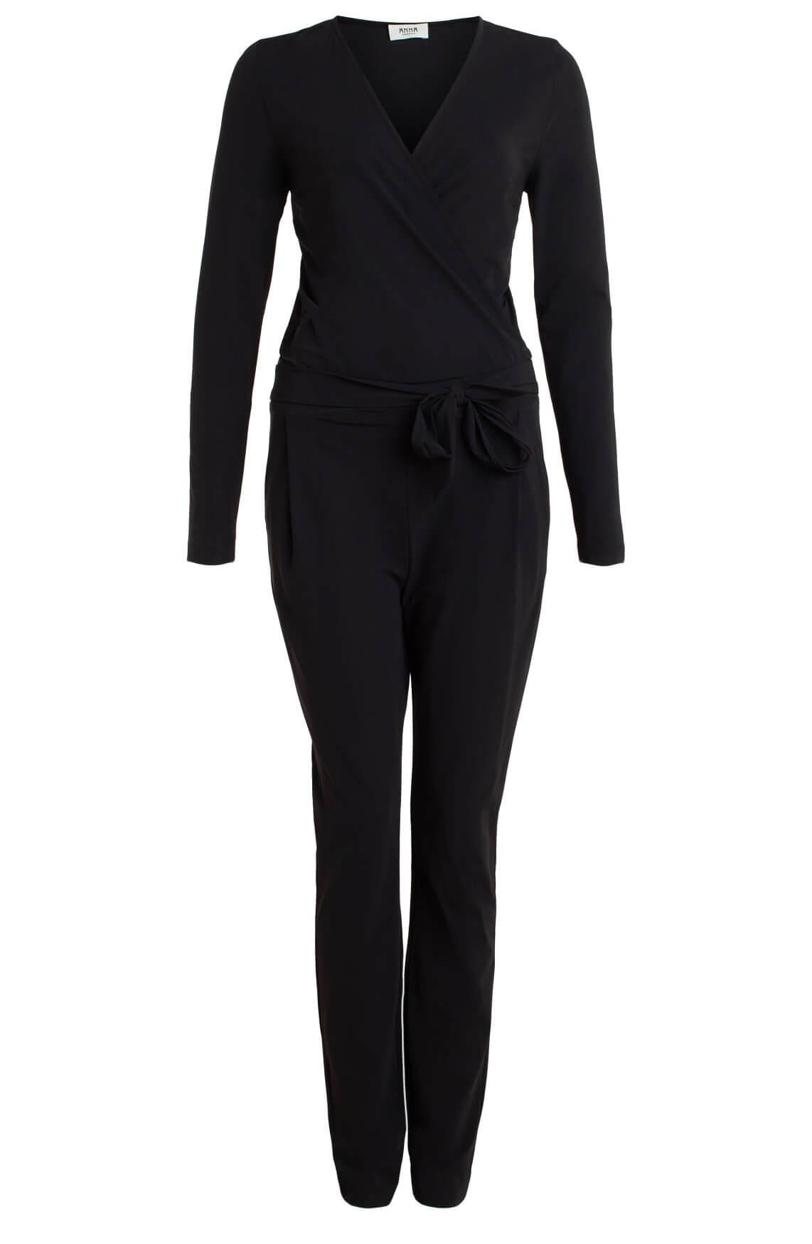 Anna Dames Eurojersey jumpsuit met ceintuur zwart