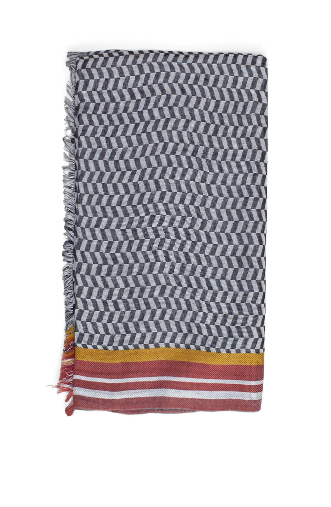 Anna Dames Grafische shawl zwart