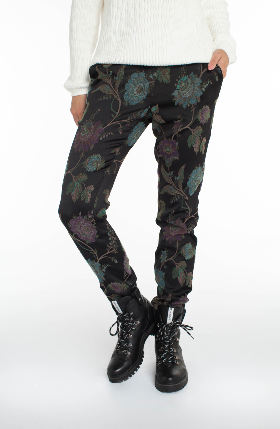 Anna Blue Dames Pantalon met floral print zwart