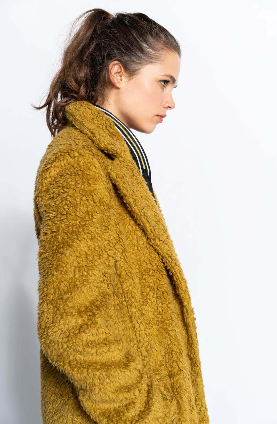 Anna Blue Dames Harige mantel geel
