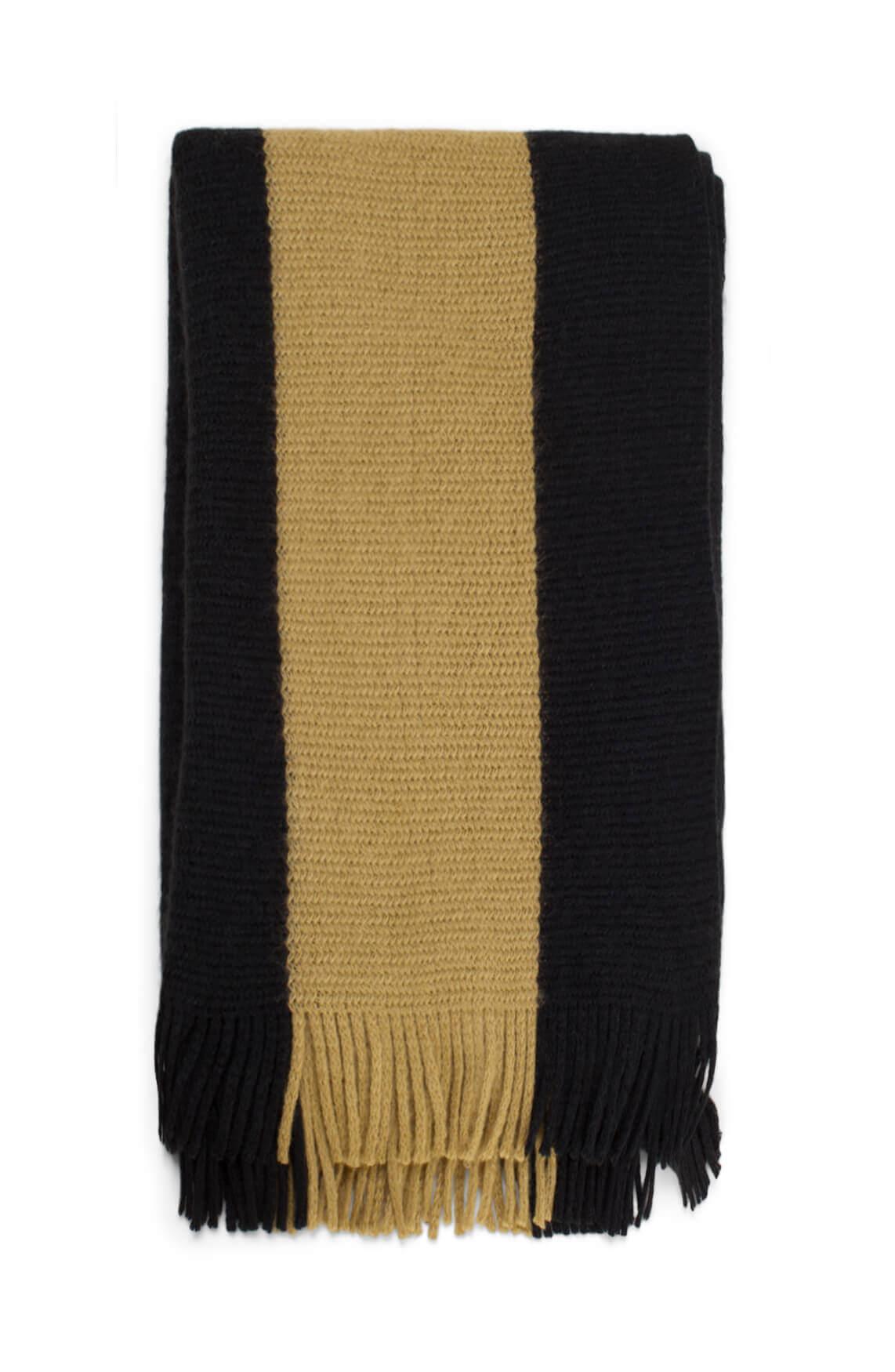 Anna Blue Dames Gestreepte shawl zwart