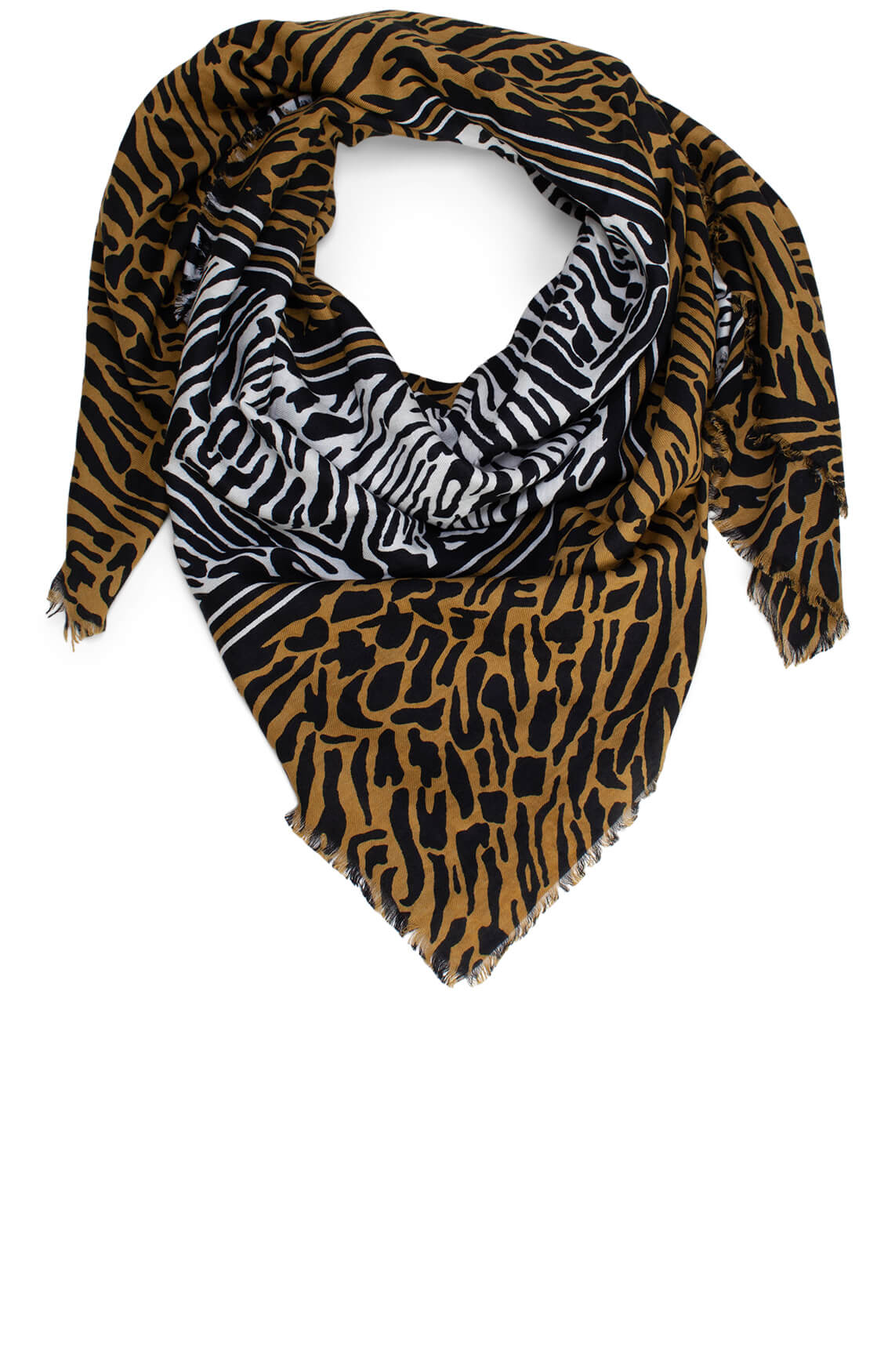 Anna Blue Dames Shawl met animalprint groen