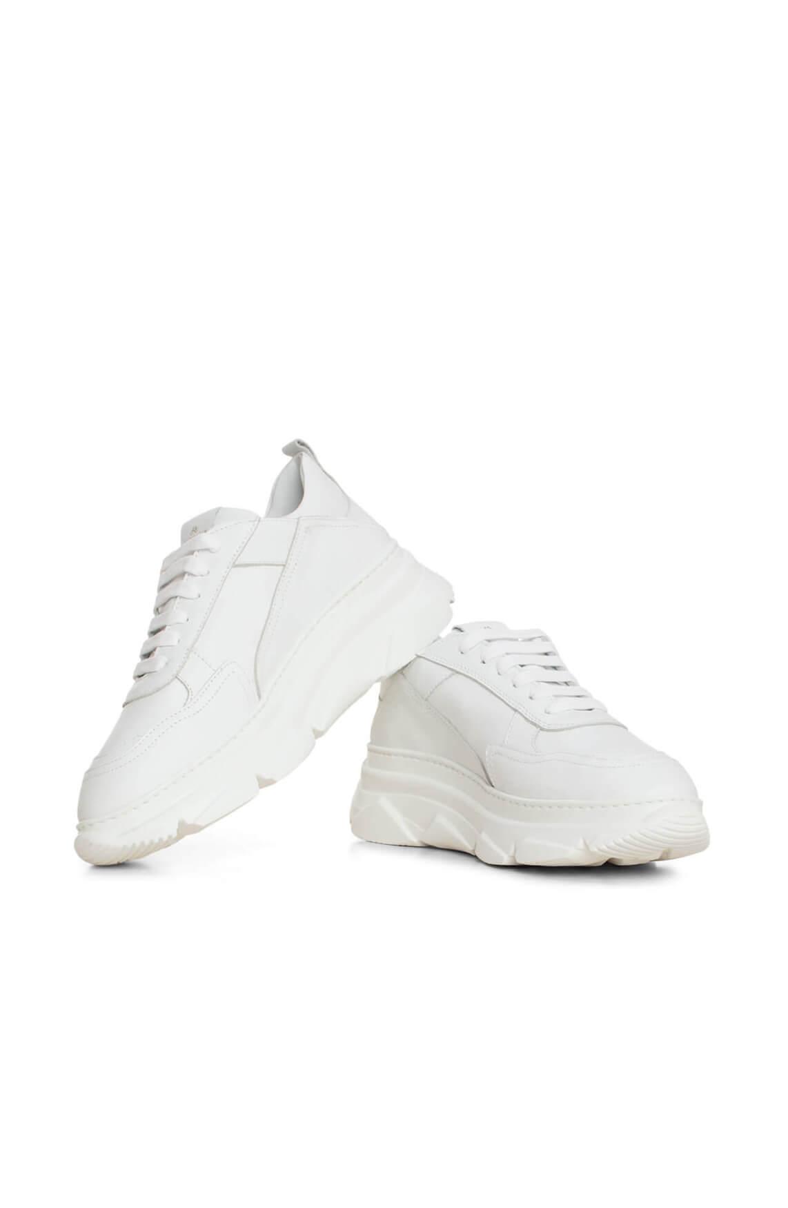 Copenhagen Dames Leren sneaker met rubberen zool wit
