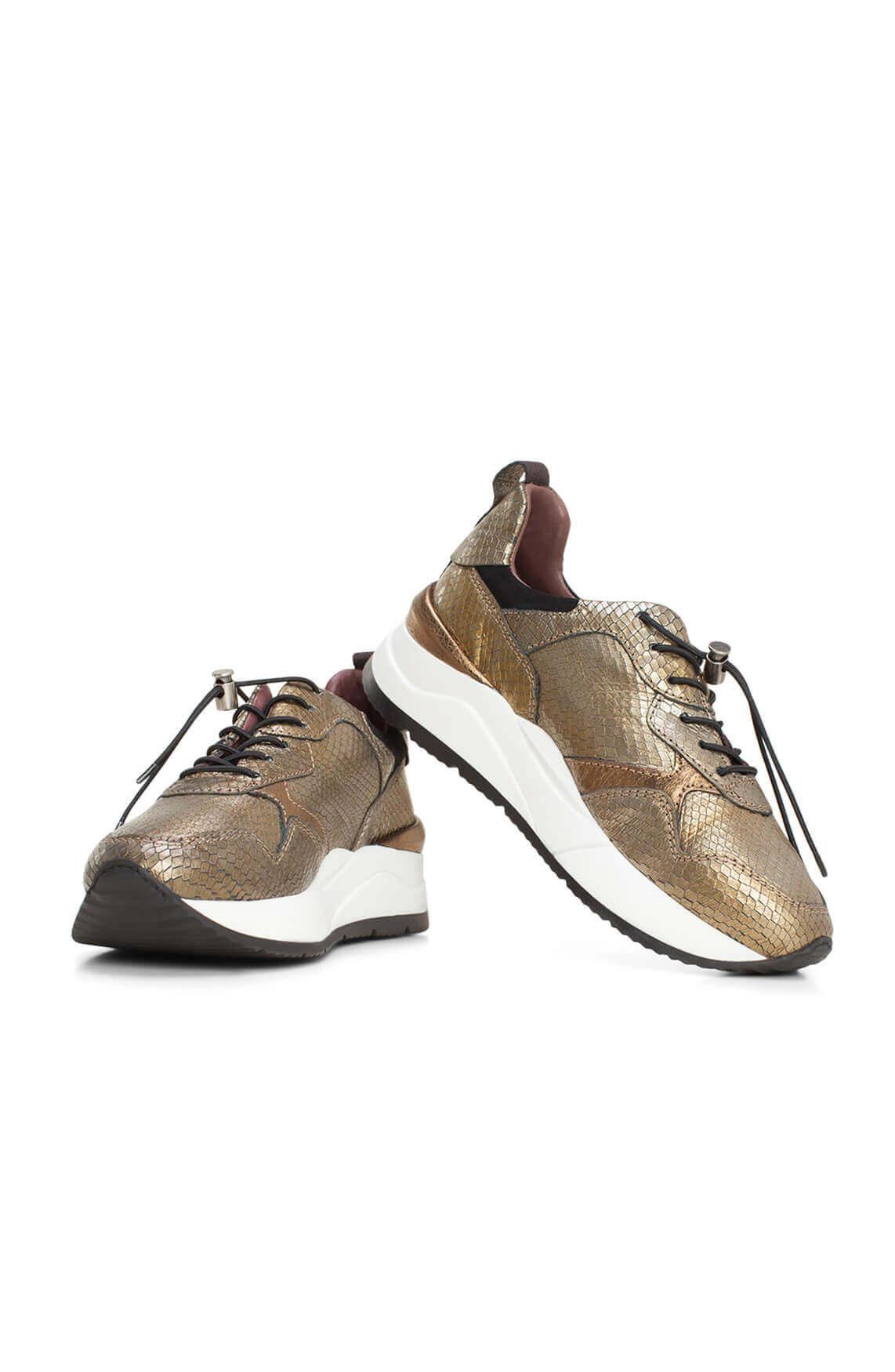 Mjus Dames Glanzende sneaker Bruin