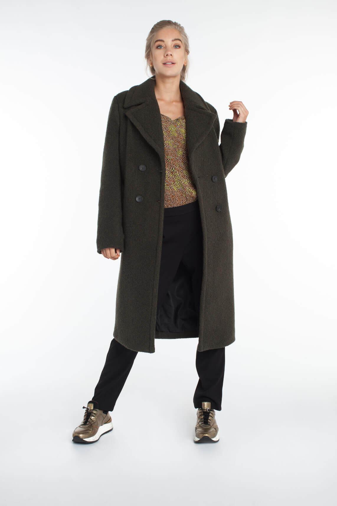 Anna Dames Wollen mantel groen