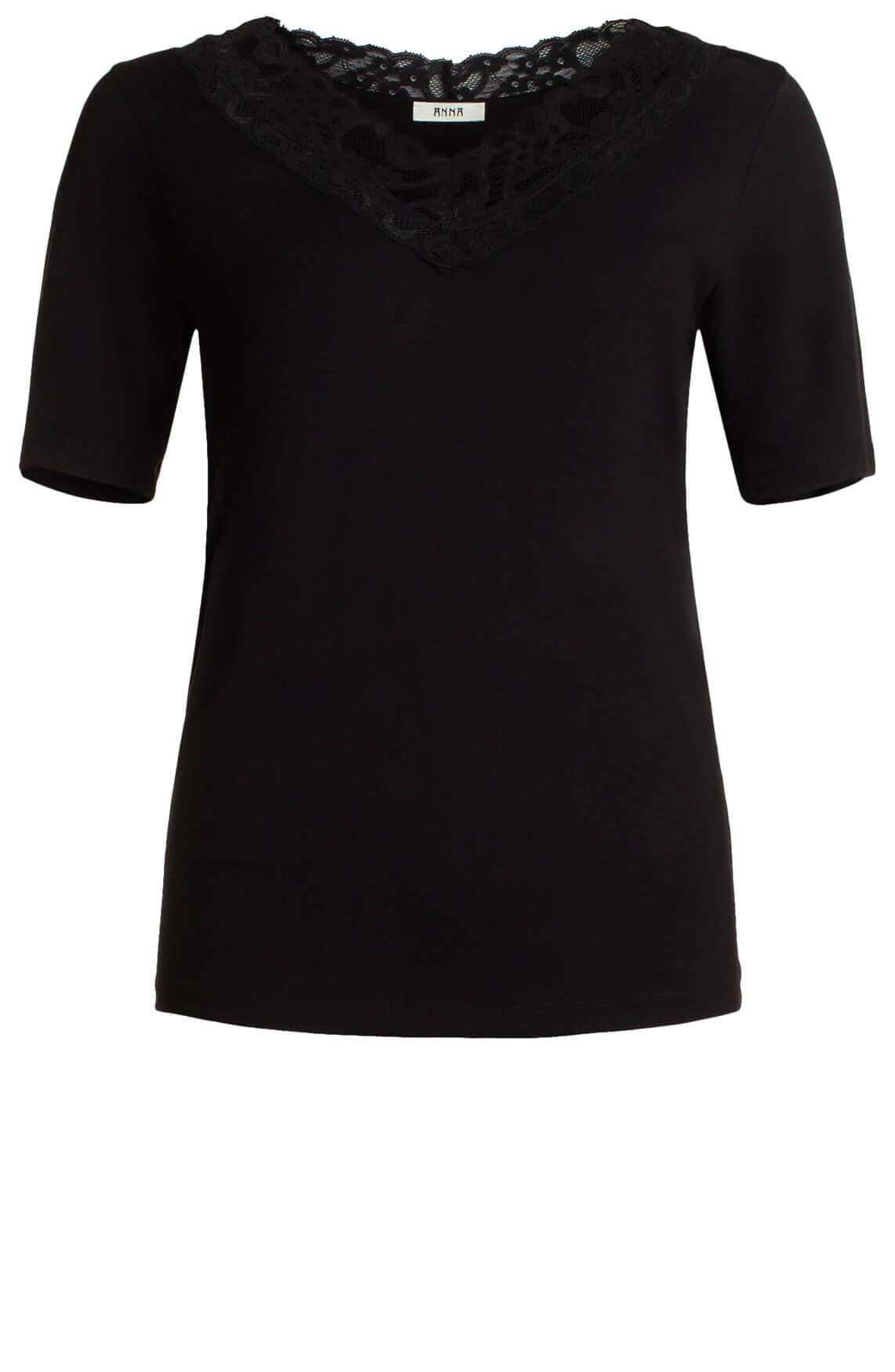 Anna Dames Shirt met kanten hals zwart