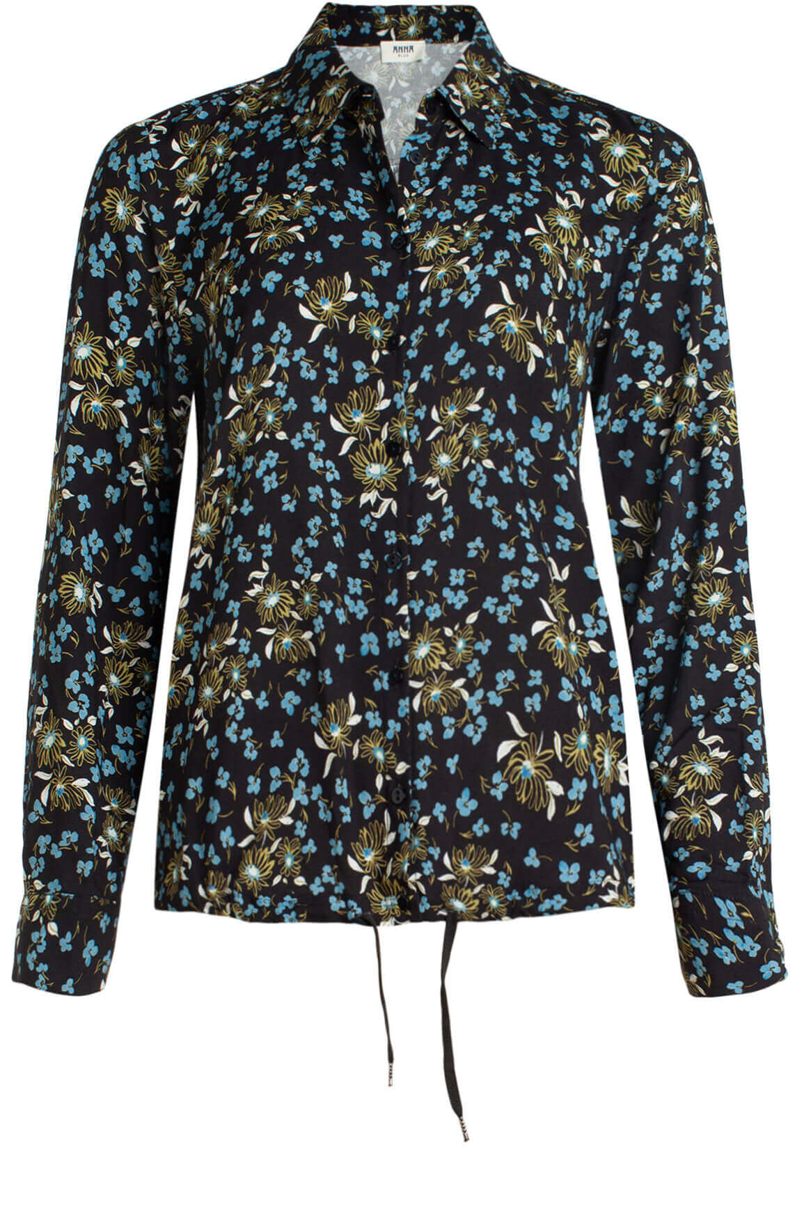 Anna Blue Dames Blouse met bloemenprint zwart