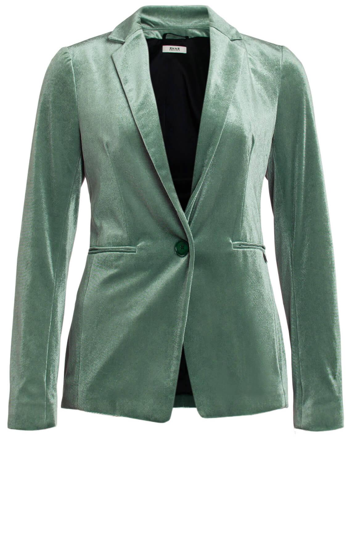 Anna Dames Velvet blazer groen