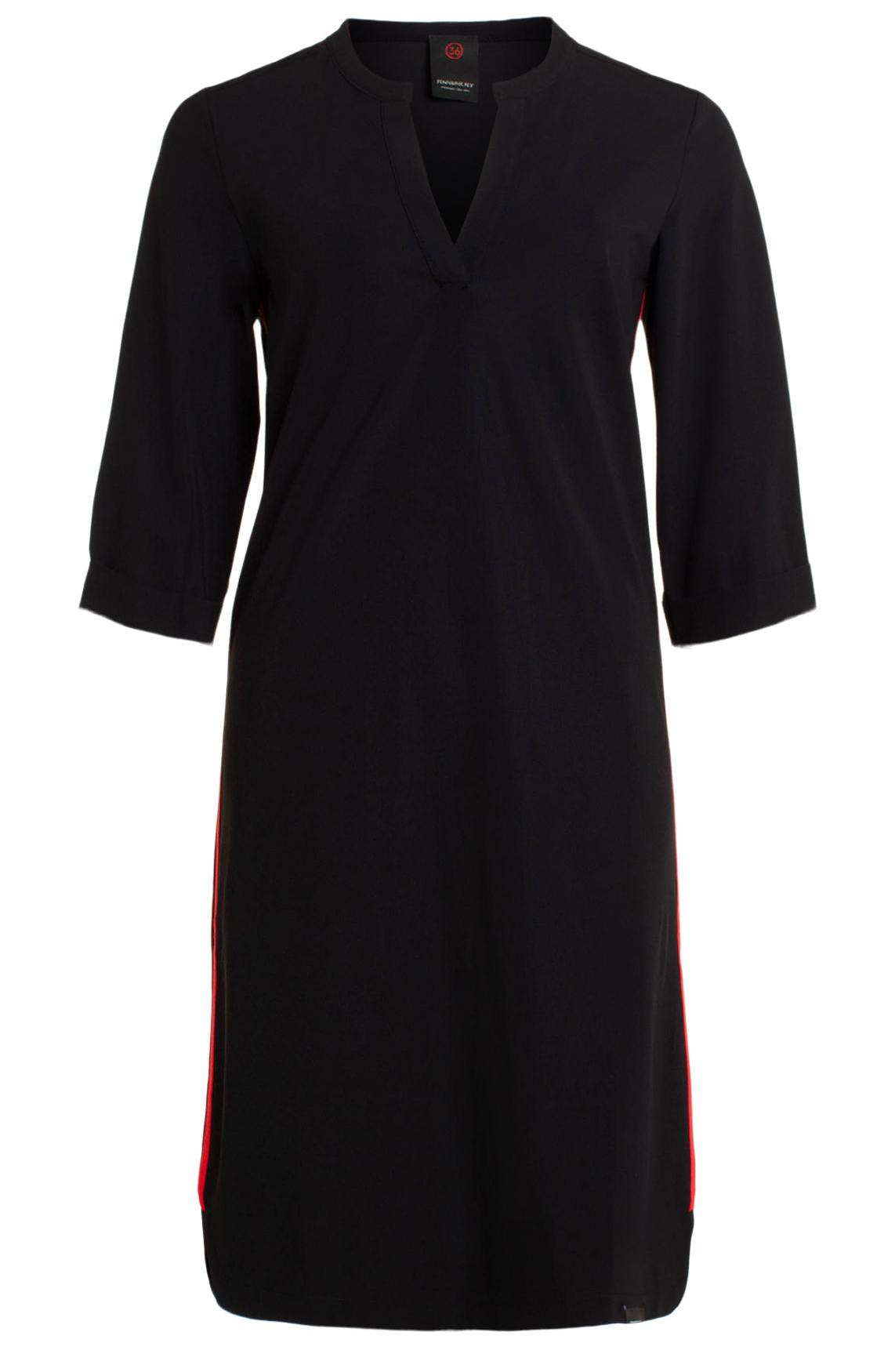 Penn & Ink Dames Jersey jurk met dubbele bies zwart