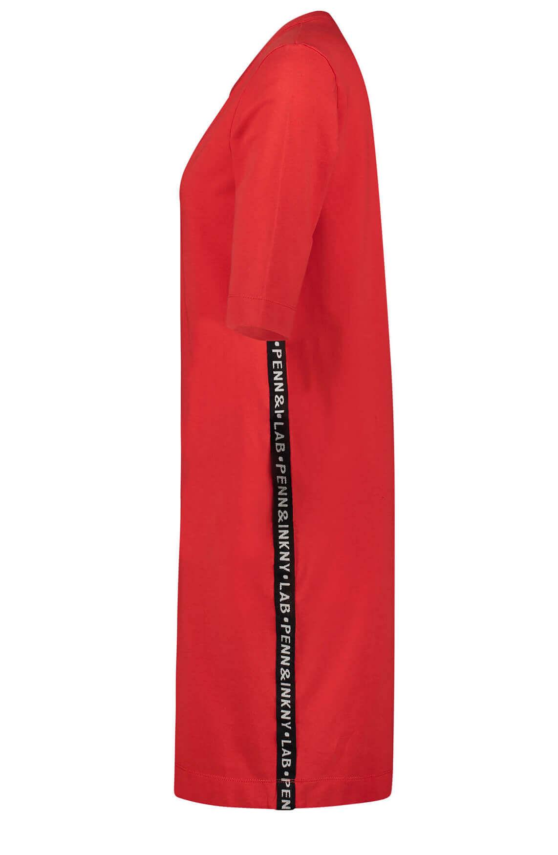 Penn & Ink Dames Jurk met tekstbies Rood