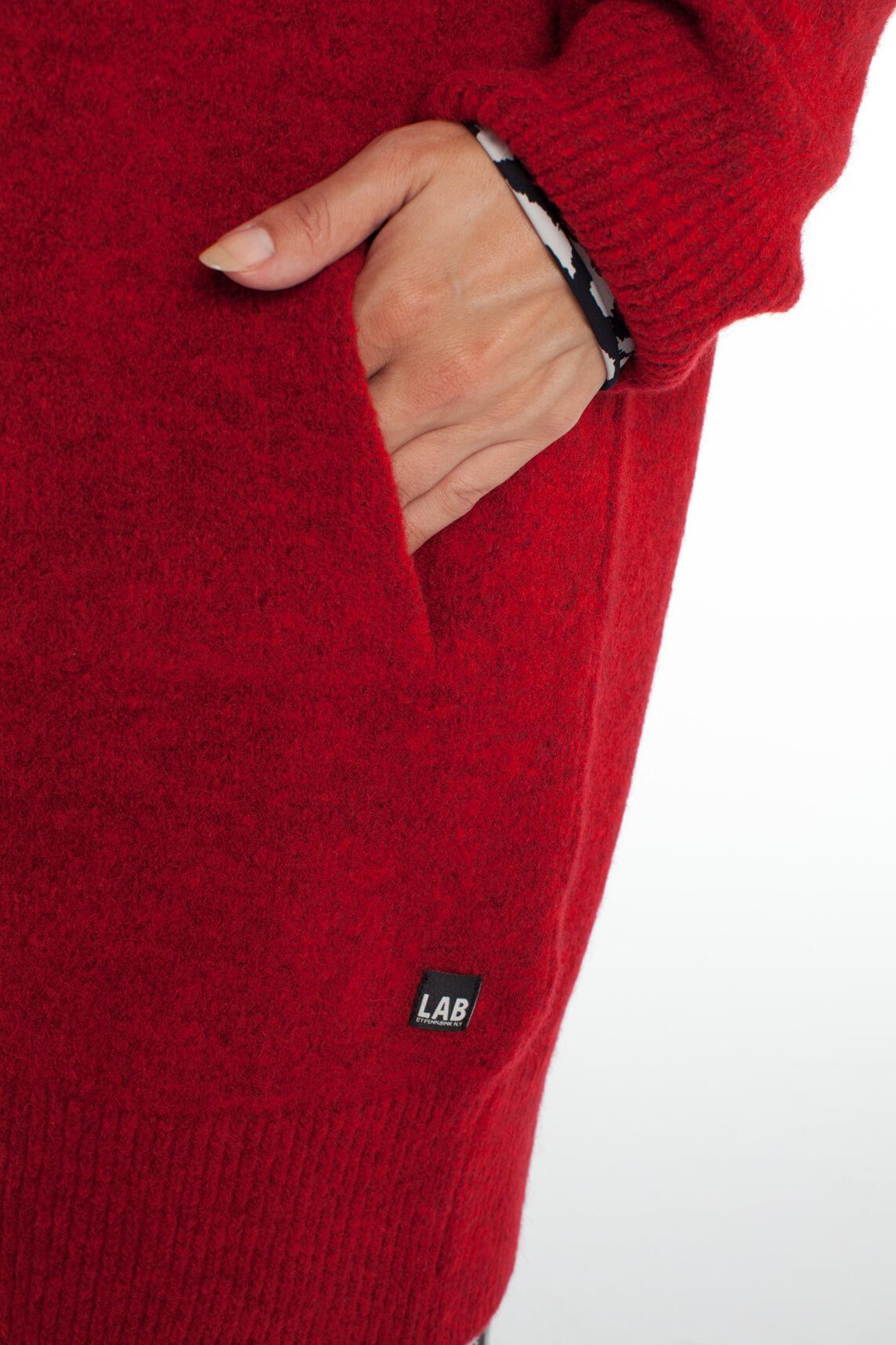 Penn & Ink Dames Lang gebreid vest Rood
