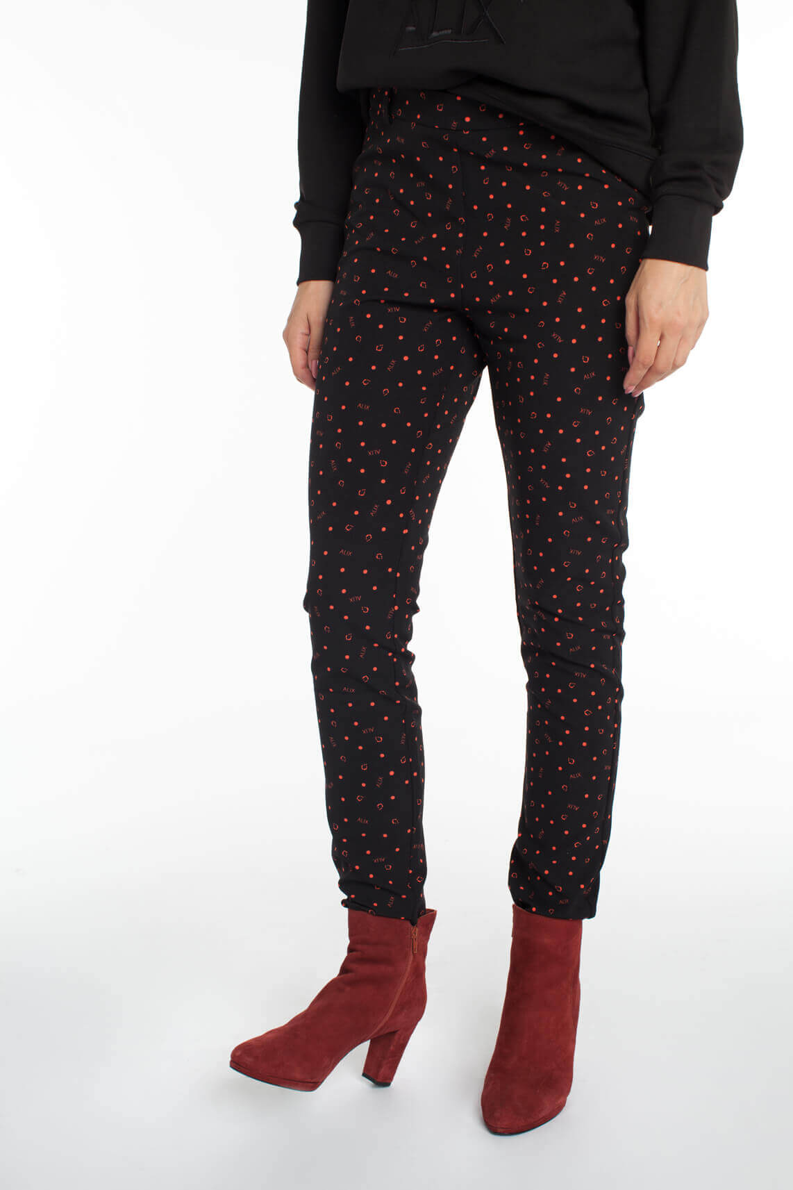 Alix The Label Dames Pantalon met print zwart