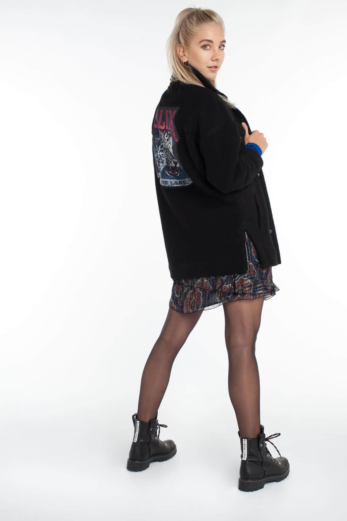 Alix The Label Dames Vilten jack met opdruk zwart