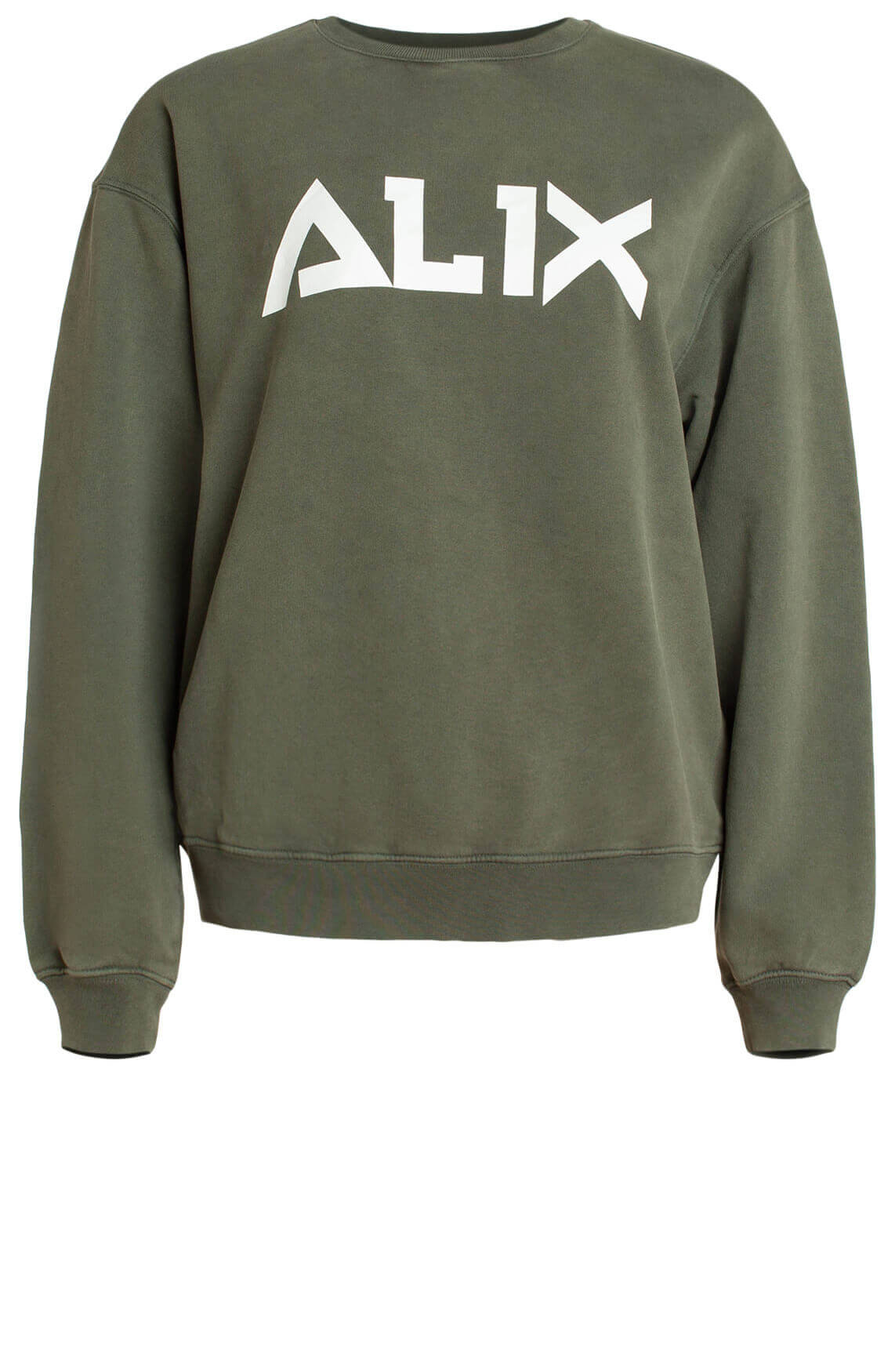 Alix The Label Dames Sweater met tekstopdruk groen