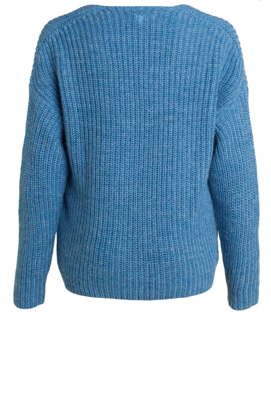 Alix The Label Dames Gebreide pullover met V-hals Blauw