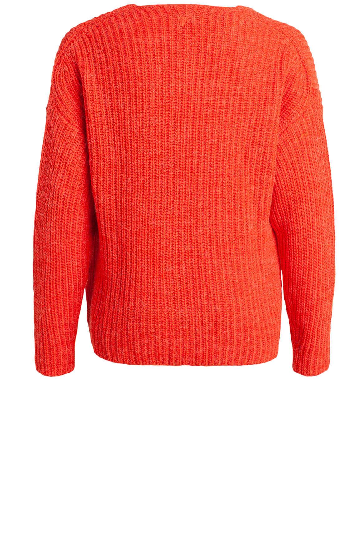 Alix The Label Dames Gebreide pullover met V-hals Rood