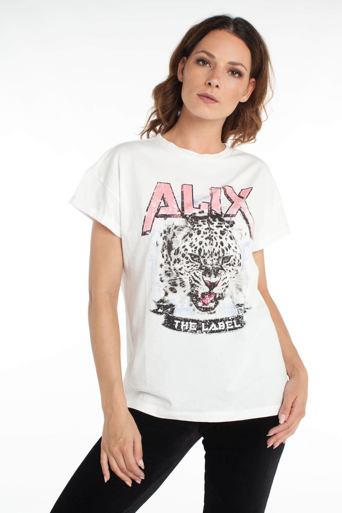 Alix The Label Dames Shirt met opdruk wit