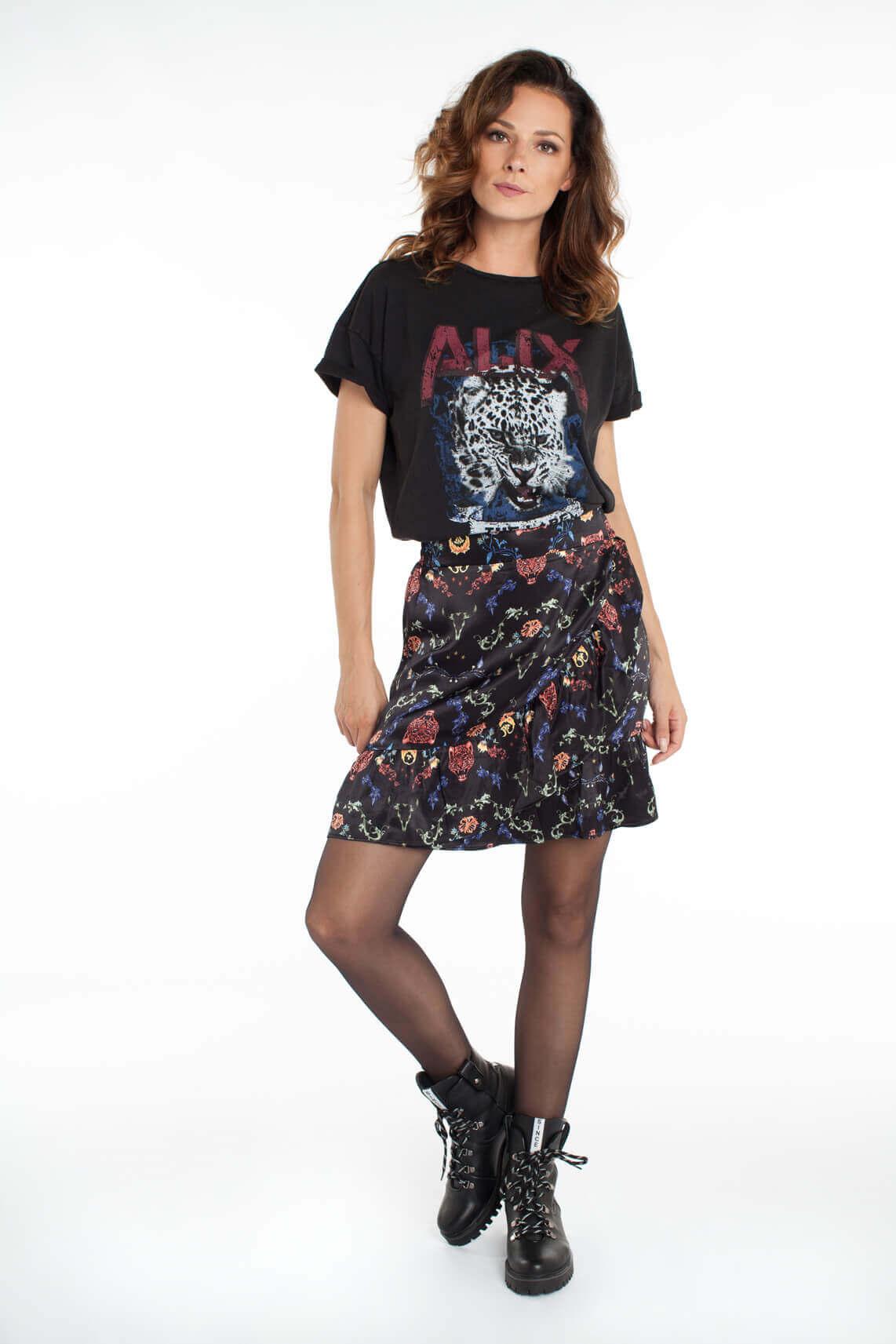 Alix The Label Dames Shirt met opdruk zwart