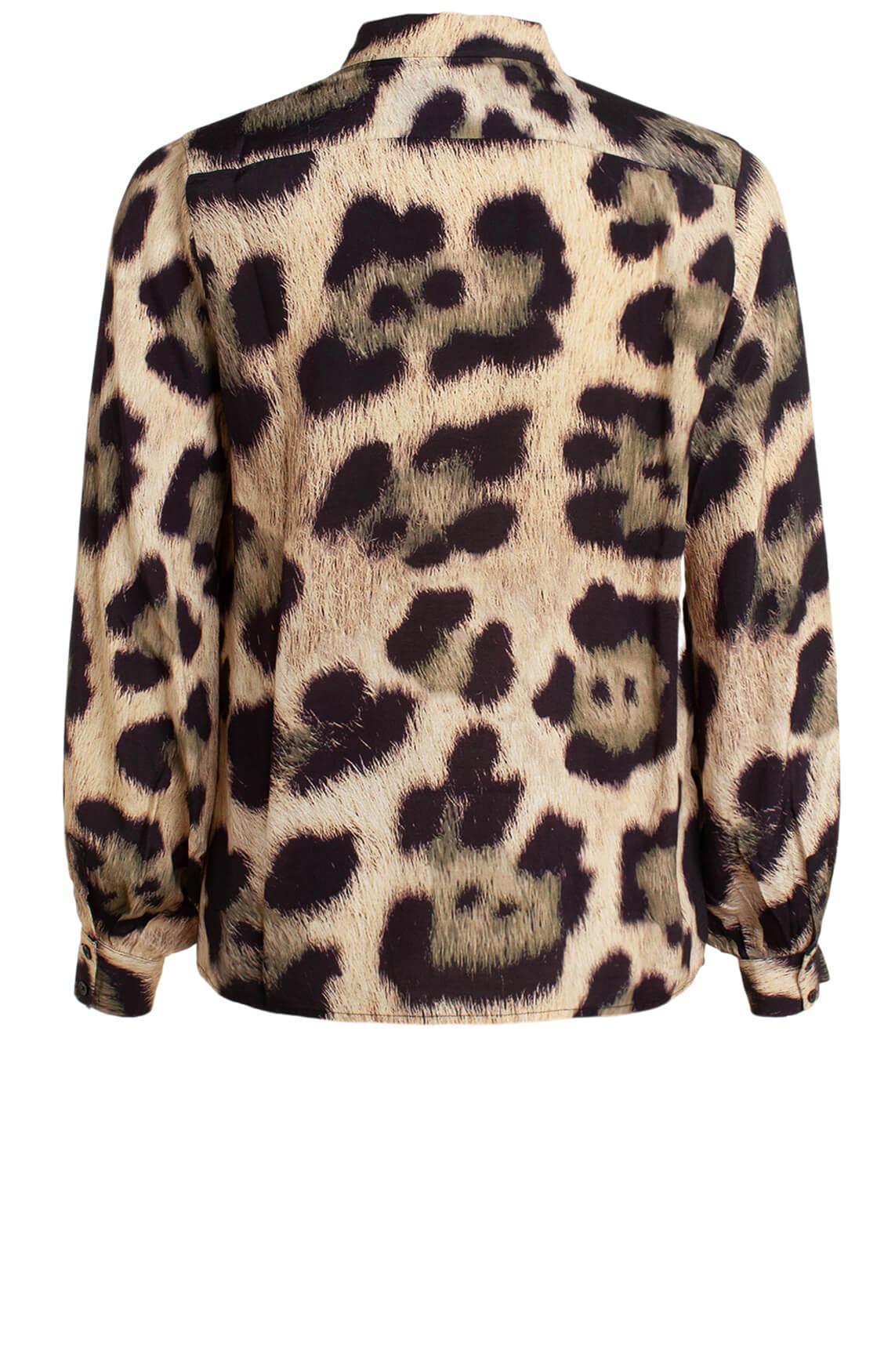 Alix The Label Dames Panterprint blouse zwart