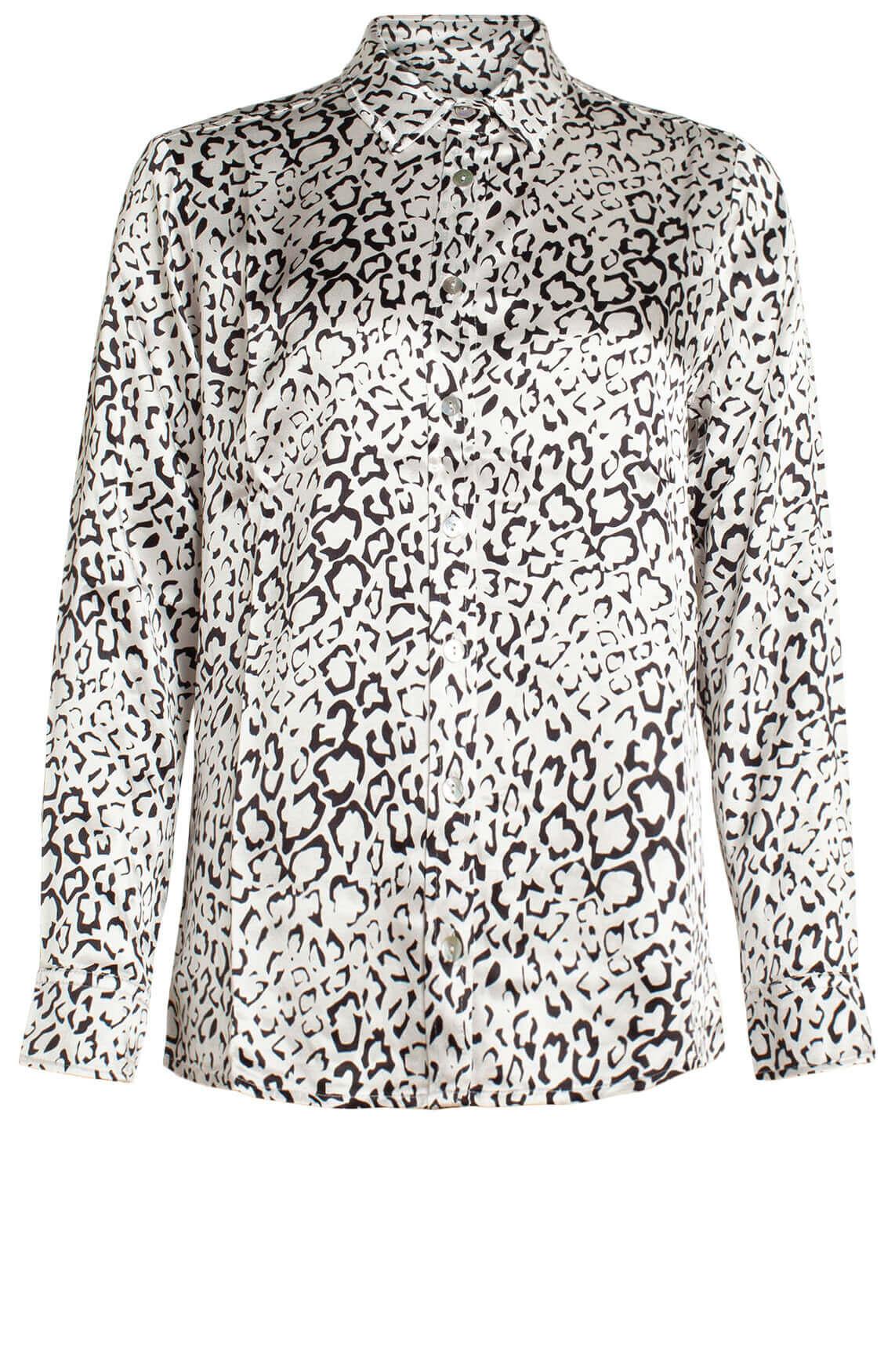 Alix The Label Dames Panterprint blouse met satijn look wit