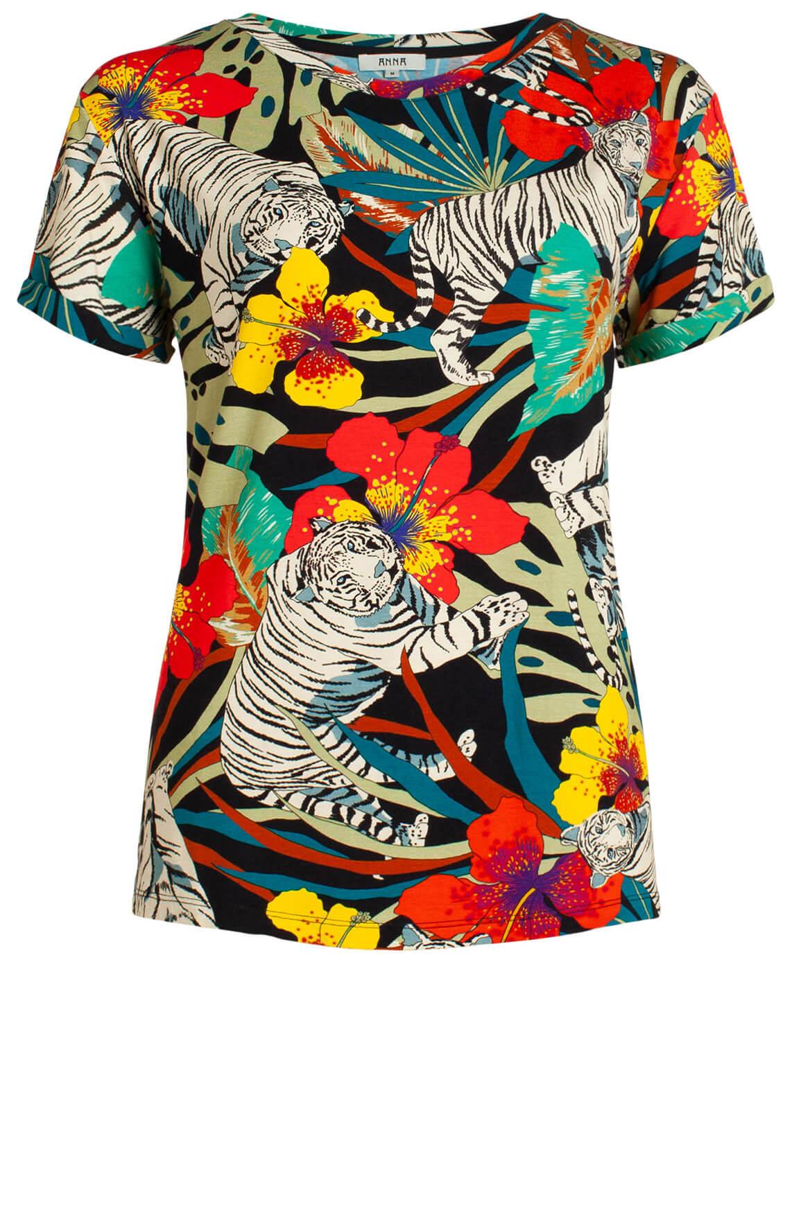 Anna Dames Shirt met kleurrijke print zwart