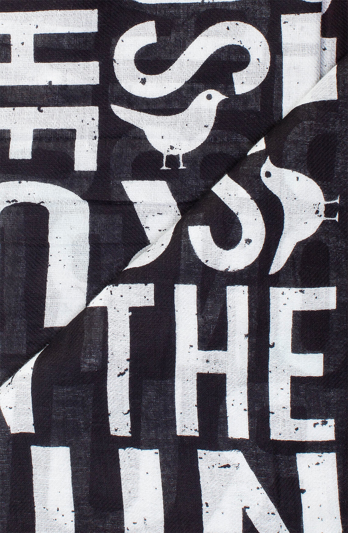 Birds on the run Dames Shawl met tekstprint zwart