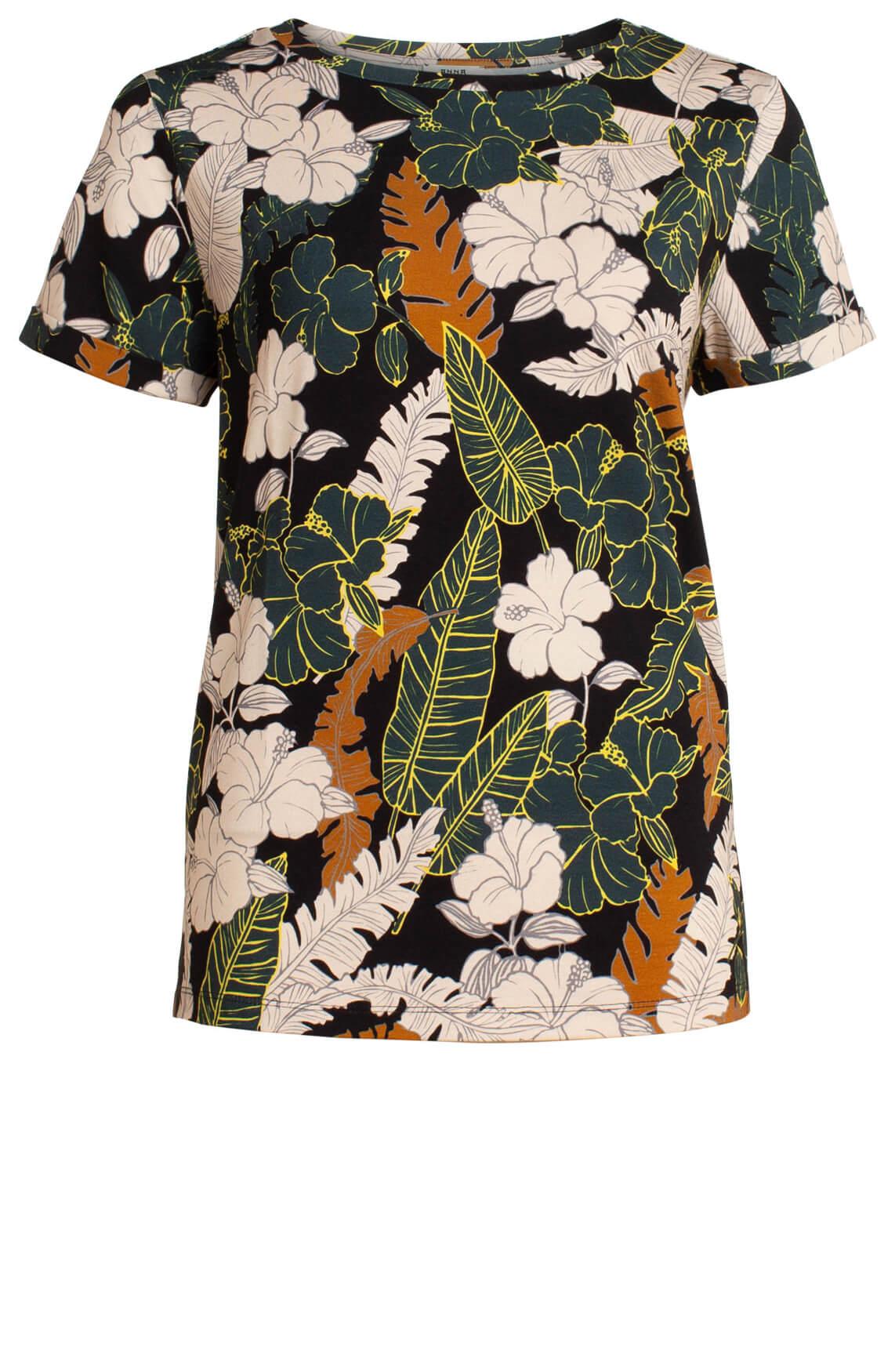 Anna Dames Shirt met bloemenprint zwart