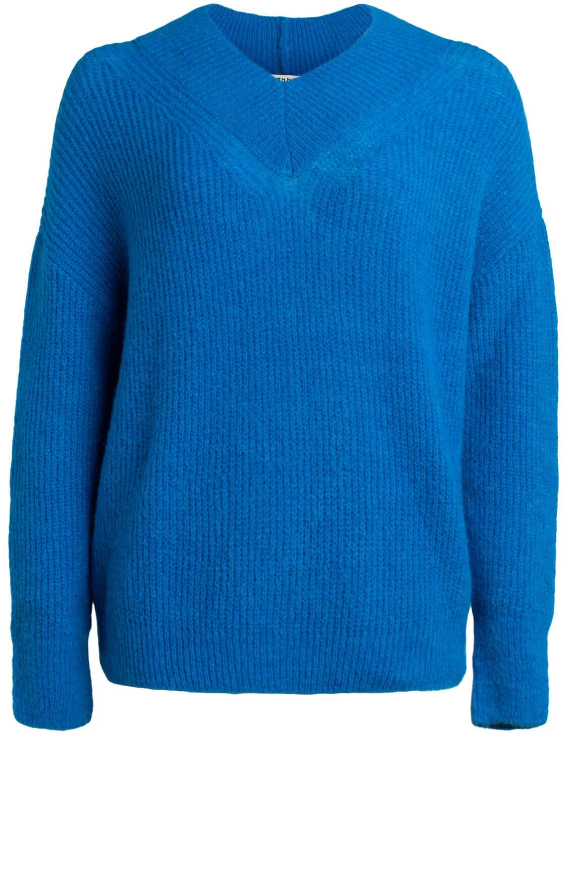 Anna Dames Gebreide pullover met v-hals Blauw