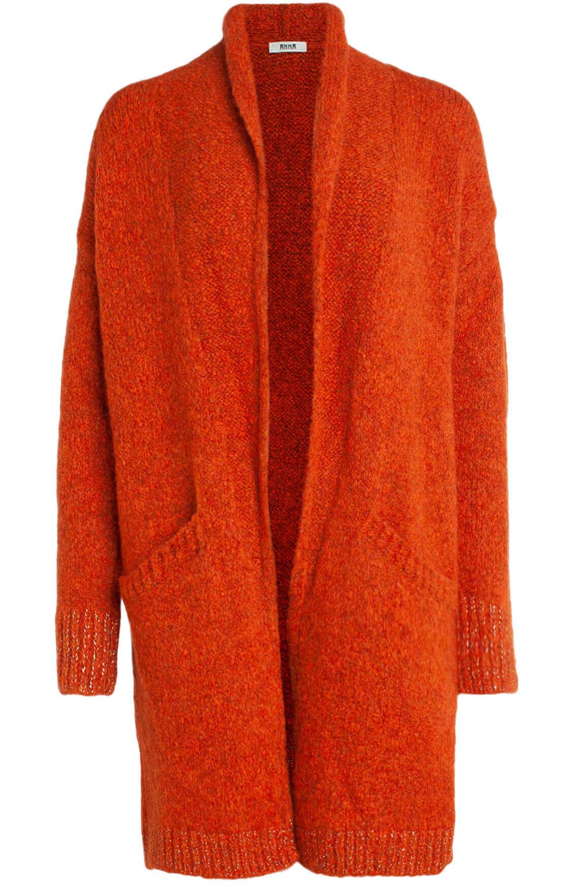 Anna Dames Gebreid vest met lurex Oranje