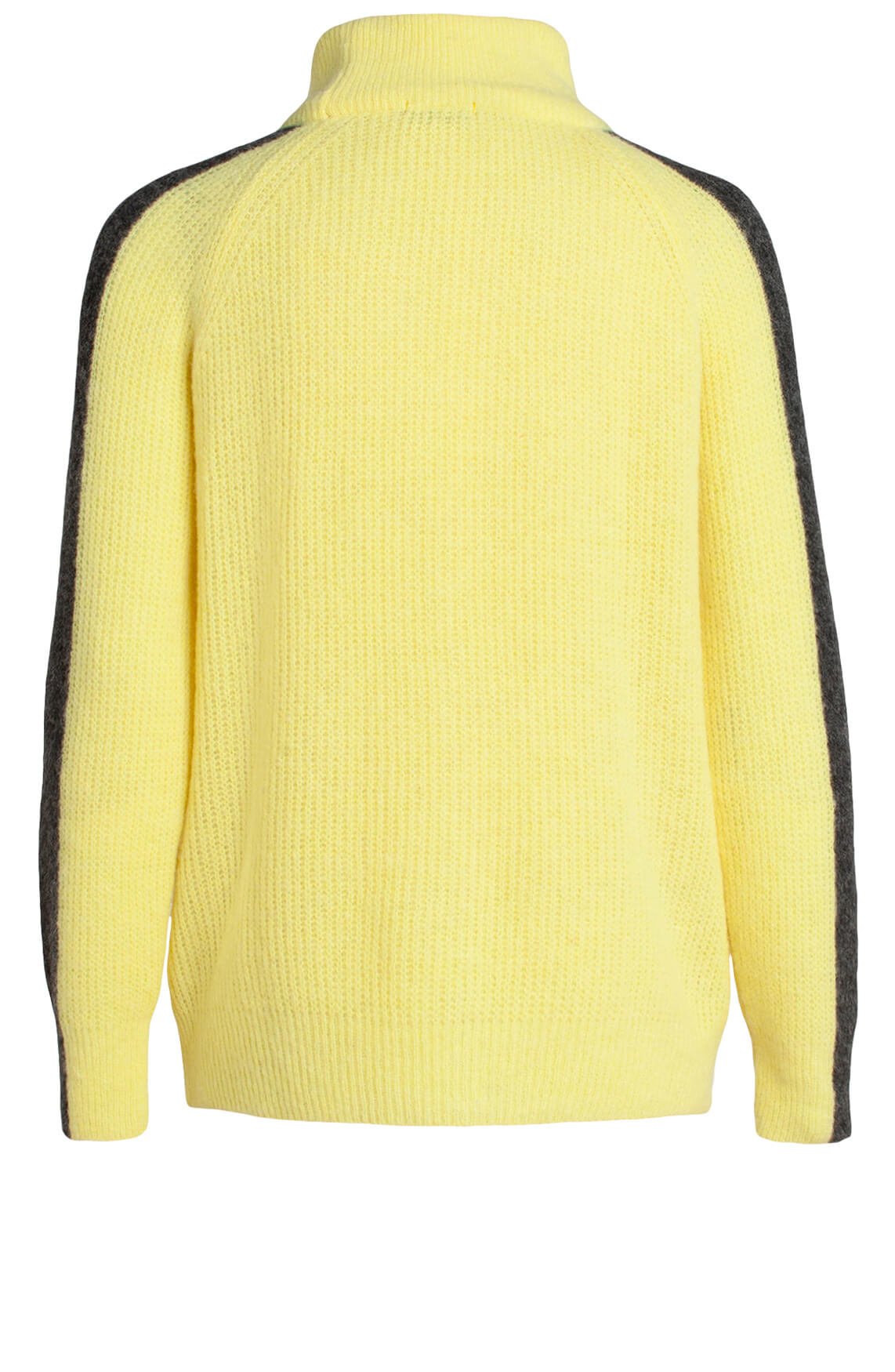 Anna Blue Dames Wollen trui met bies geel