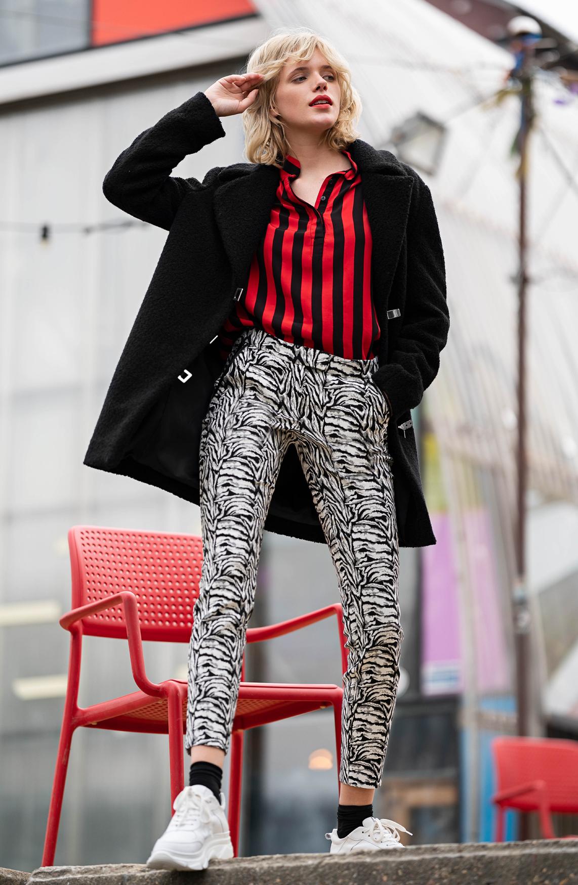 Anna Dames Jacquard pantalon zwart