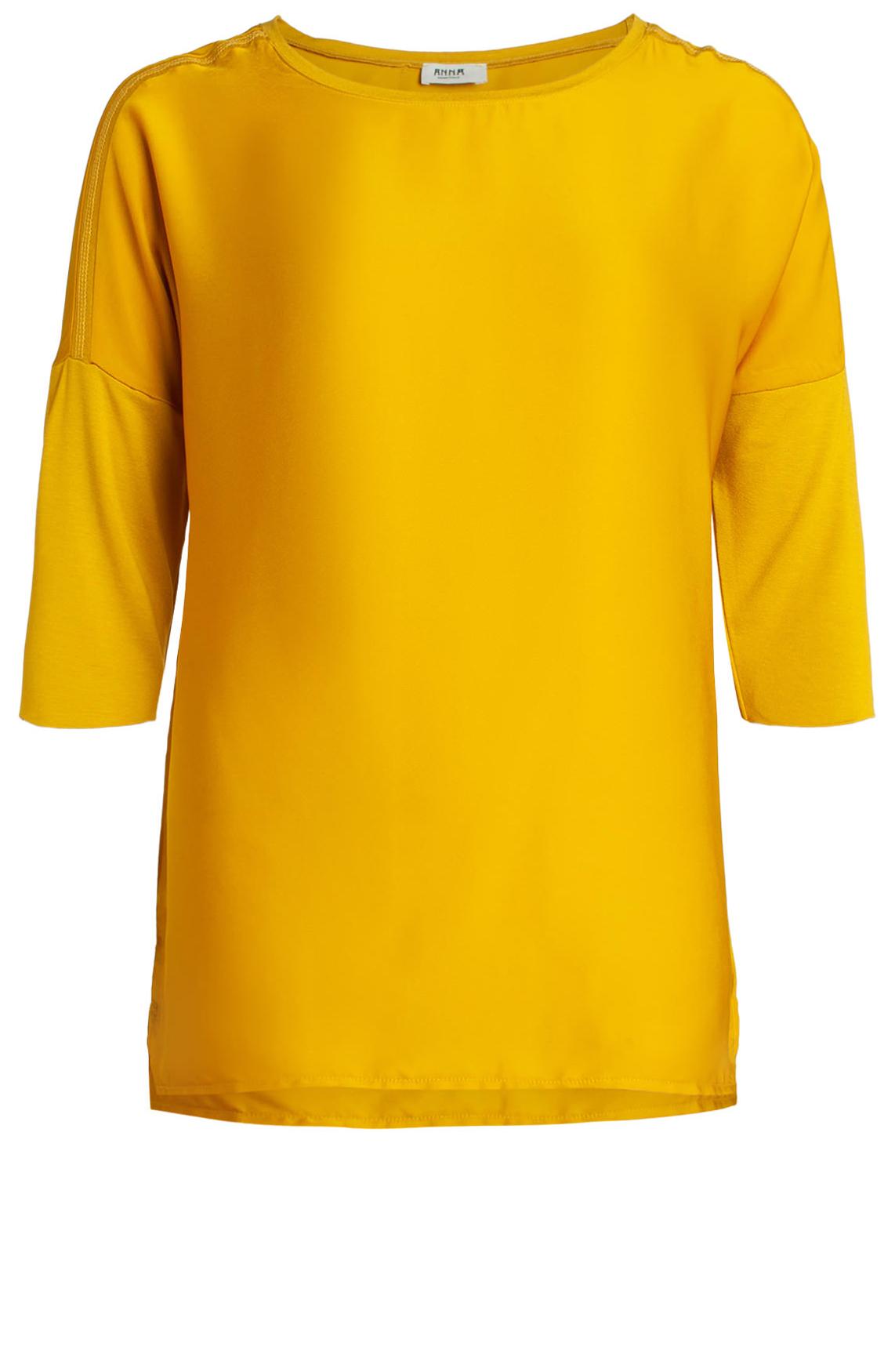 Anna Dames Materiaalmix shirt geel
