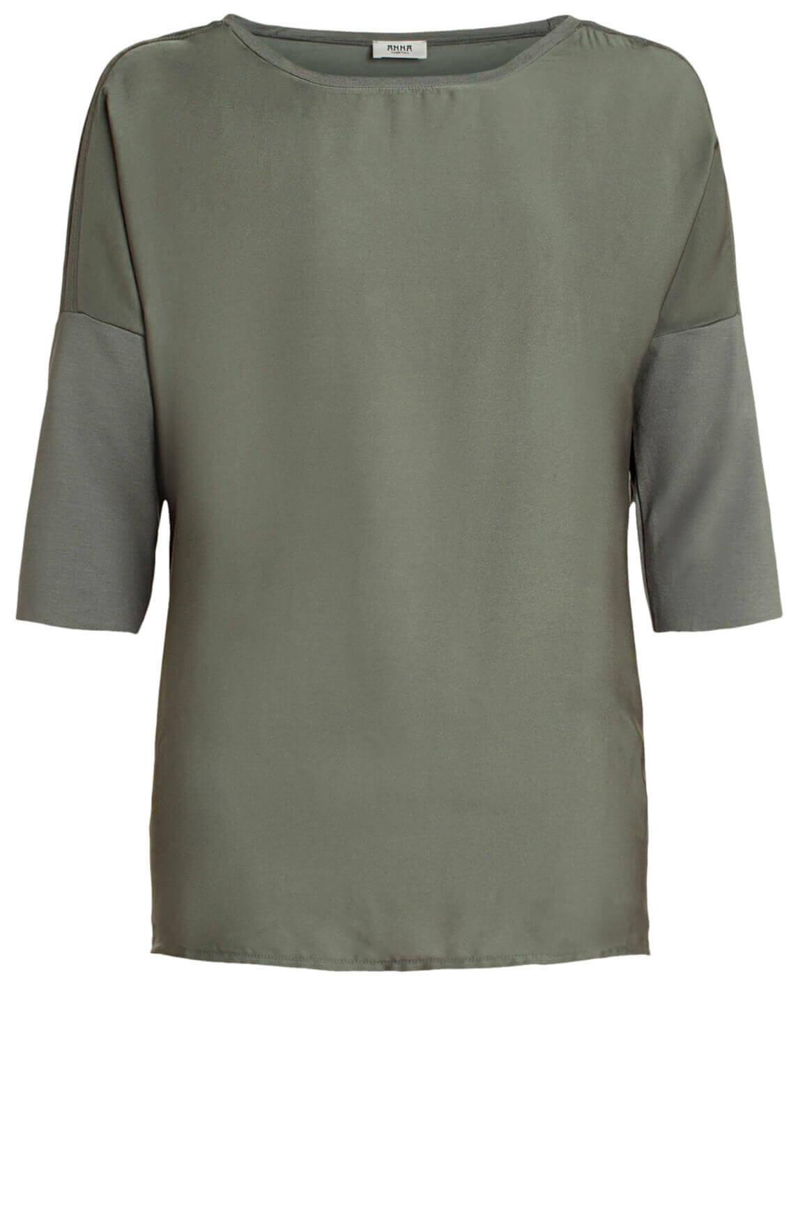 Anna Dames Materiaalmix shirt groen