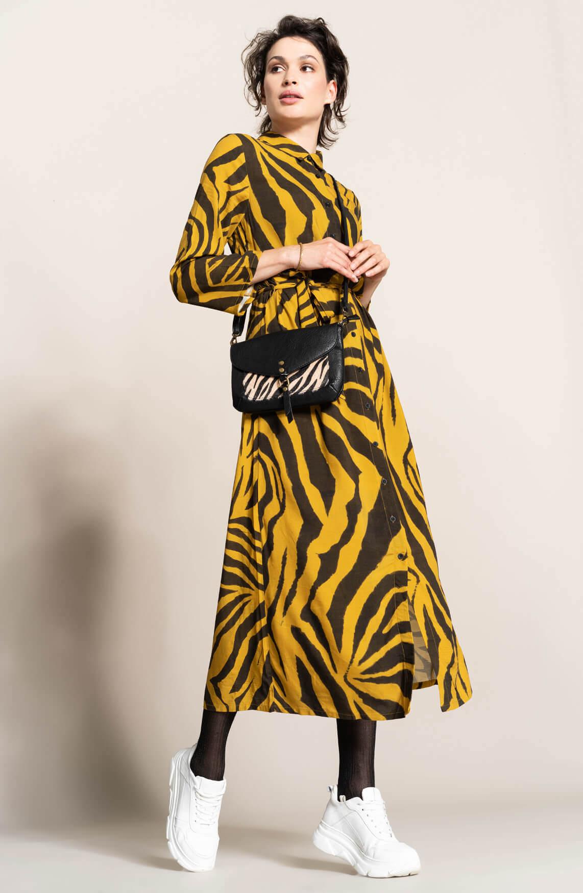 Anna Dames Lange jurk met animalprint geel