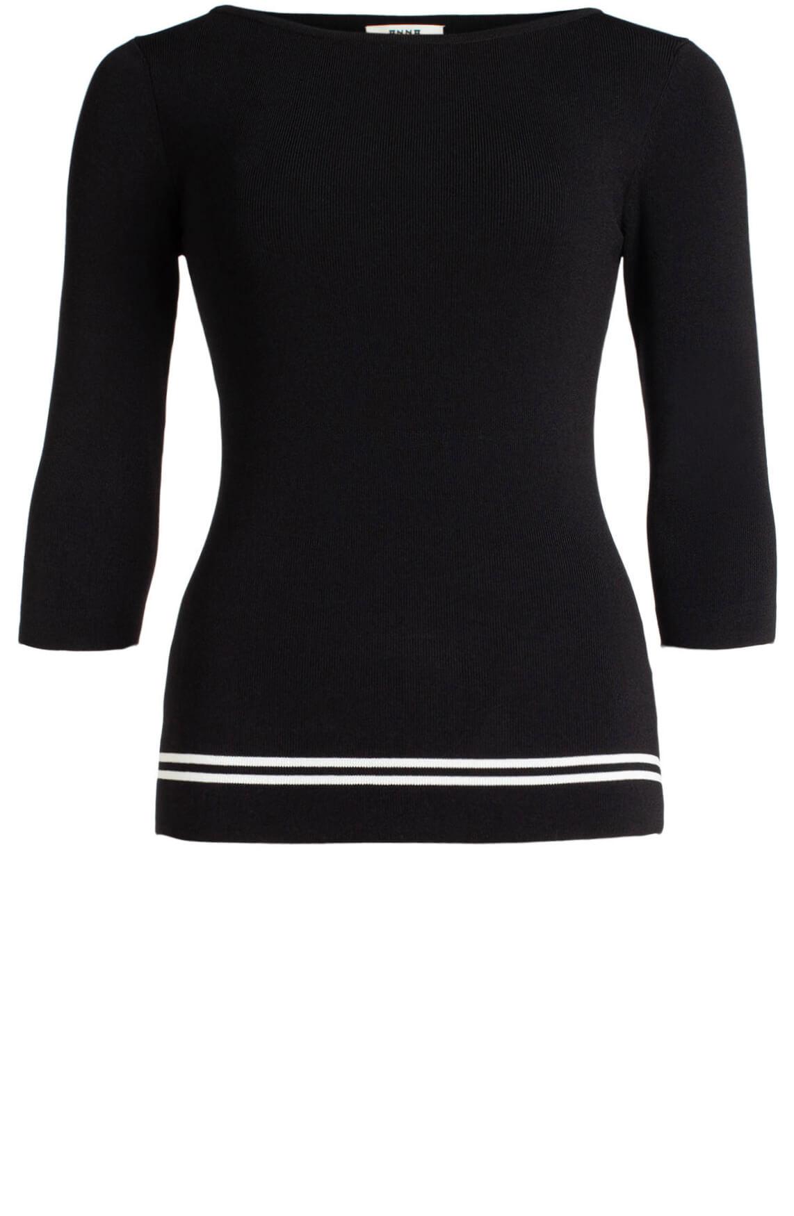 Anna Dames Pullover met streepdetail zwart