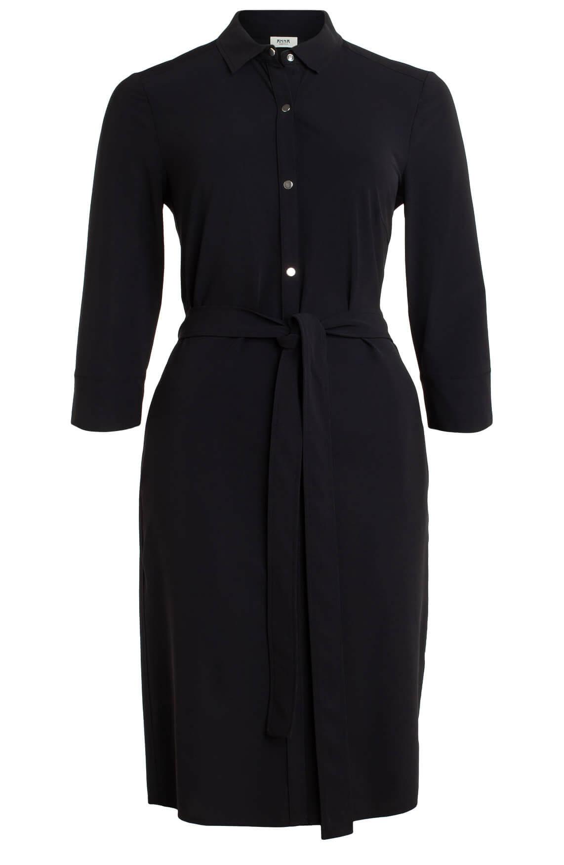 Anna Dames Jersey sensitive jurk met ceintuur zwart