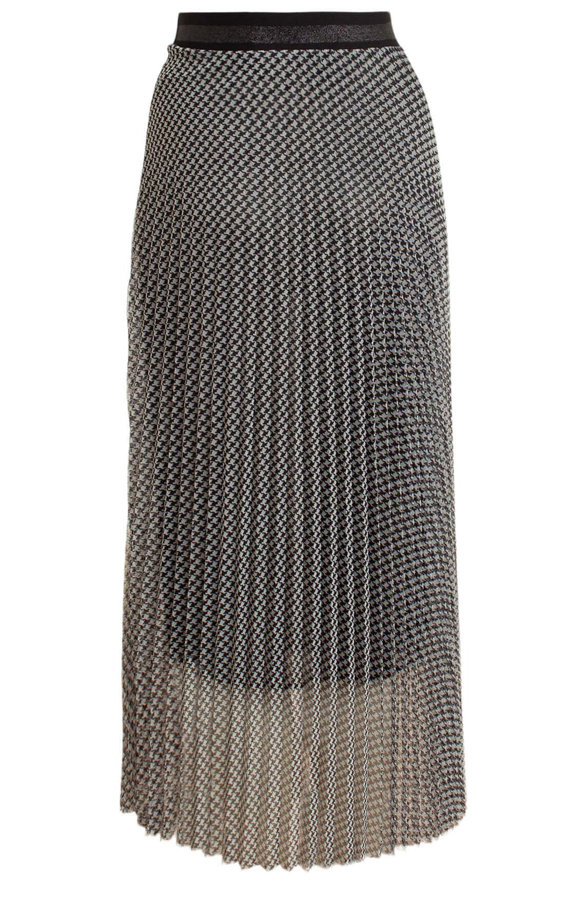 Anna Dames Pied-de-poule plissé rok zwart