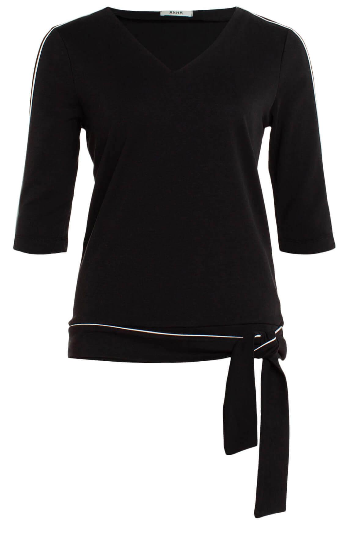 Anna Dames Shirt met ceintuur zwart