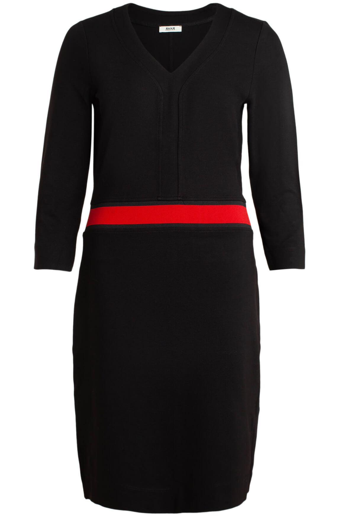 Anna Dames Jurk met rode tailleband zwart