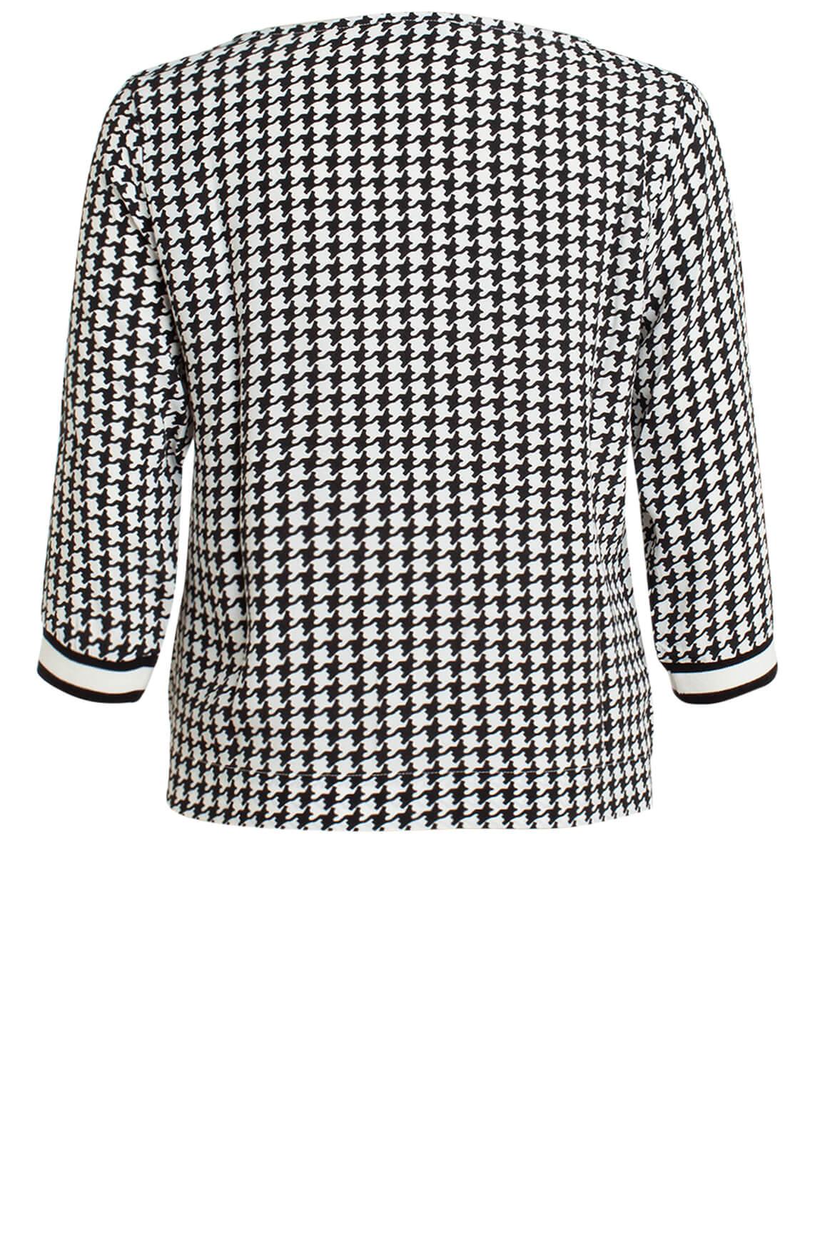 Anna Dames Pied-de-coque blouse zwart